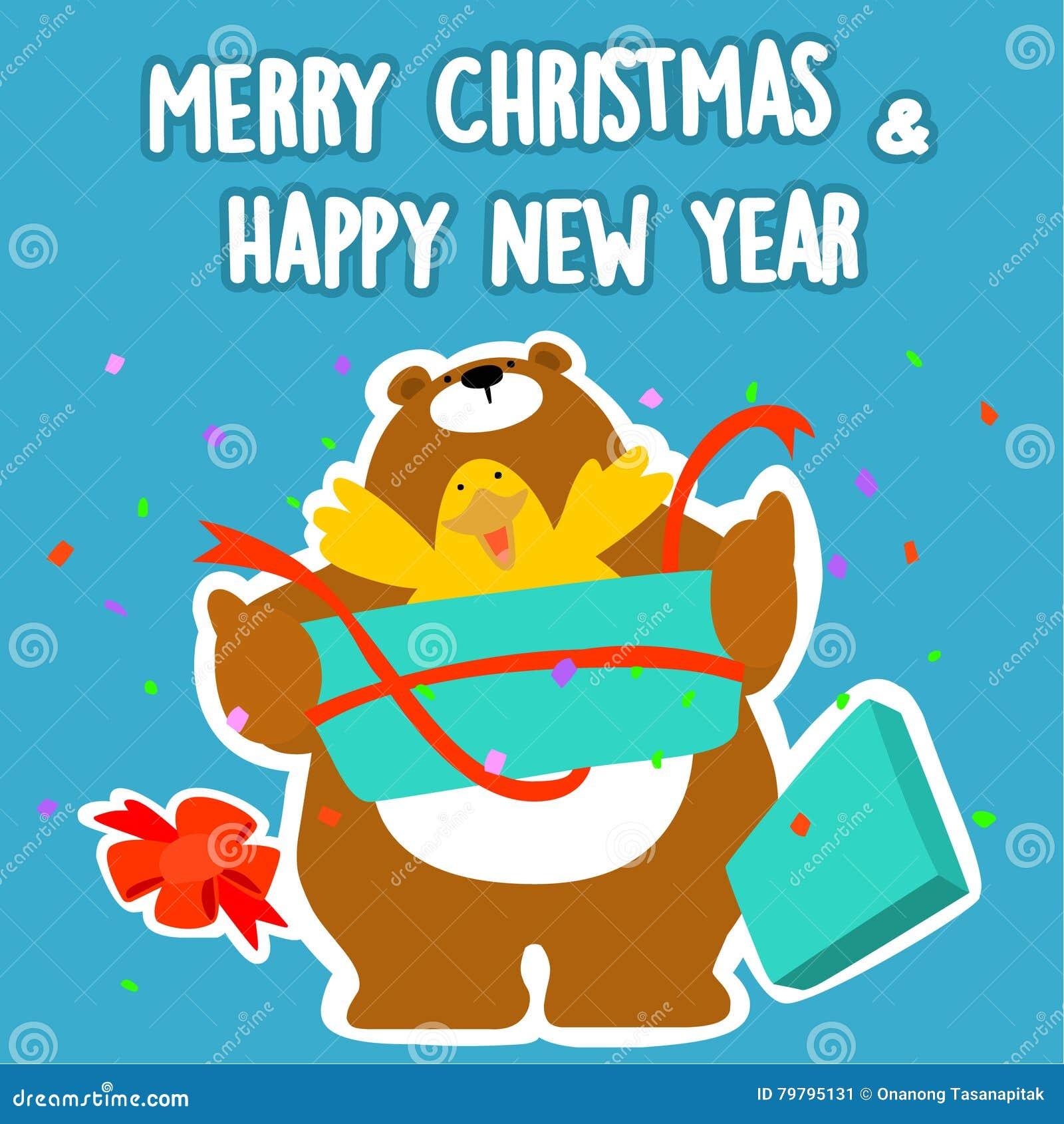 Weihnachten Ente.Bär Und Frohe Weihnachten Und Guten Rutsch Ins Neue Jahr Der Ente