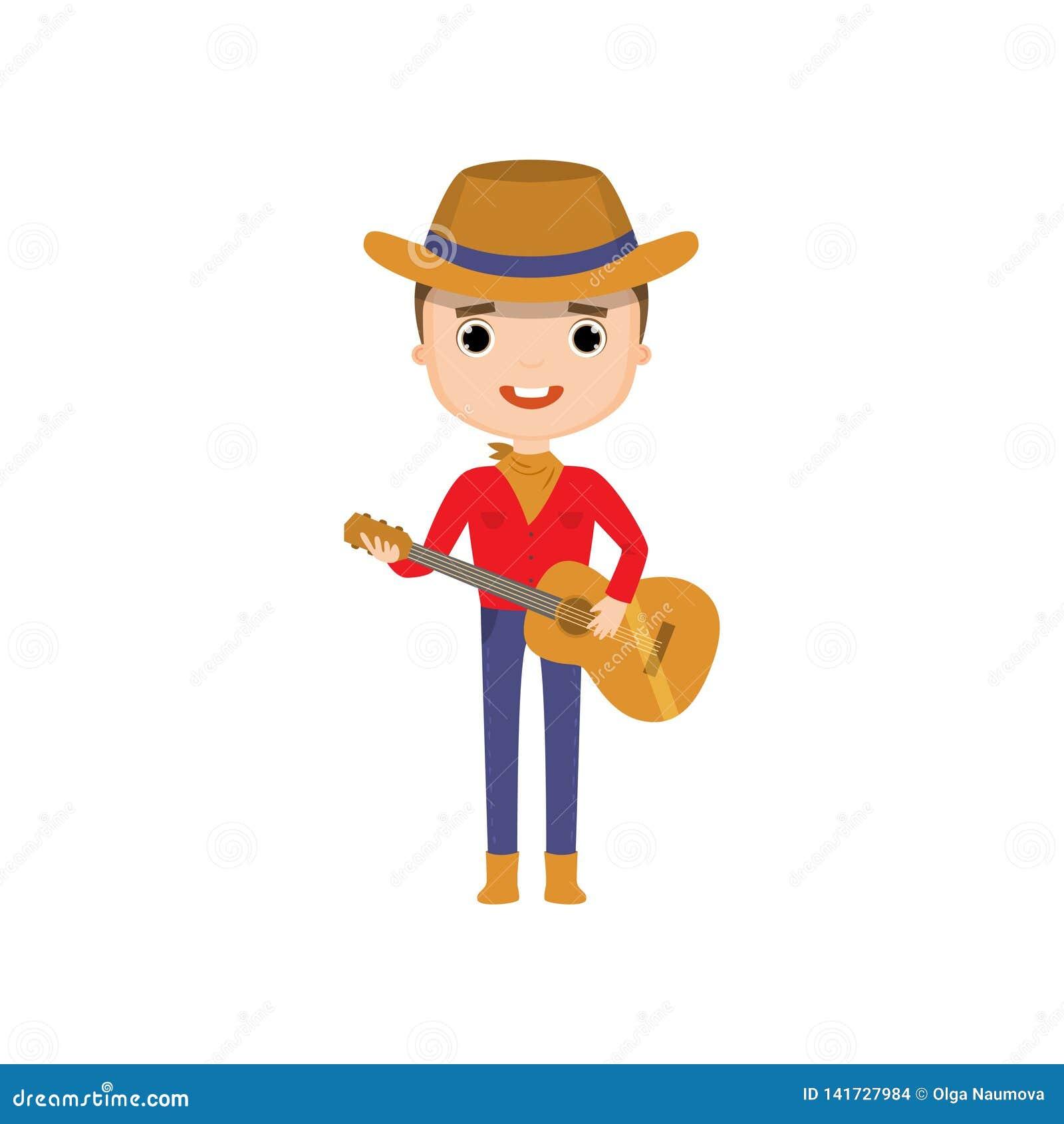 Bärande cowboykläder för grabb som spelar gitarren som isoleras på vit bakgrund