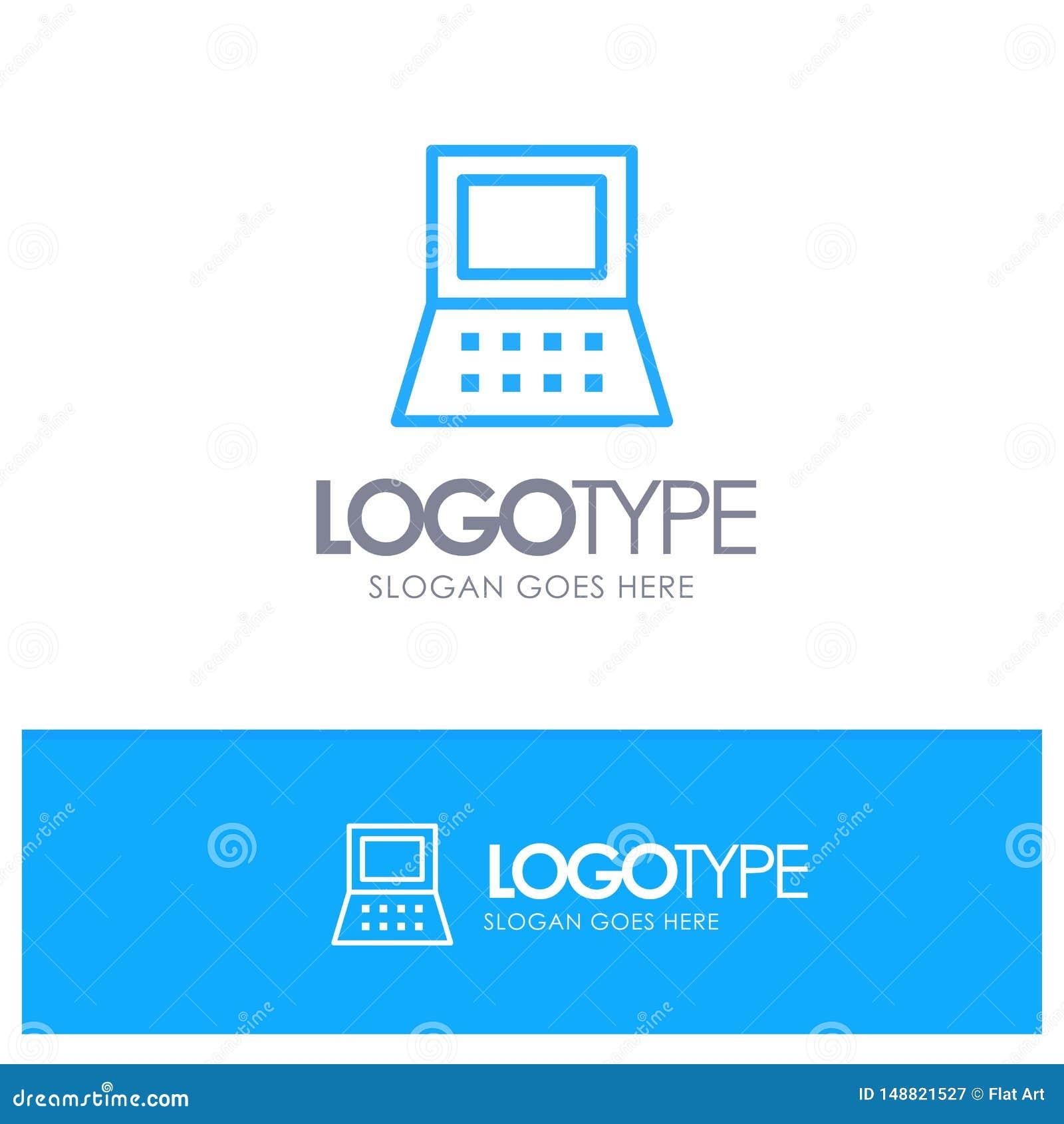 Bärbar dator dator, blå översikt Logo Place för maskinvara för Tagline