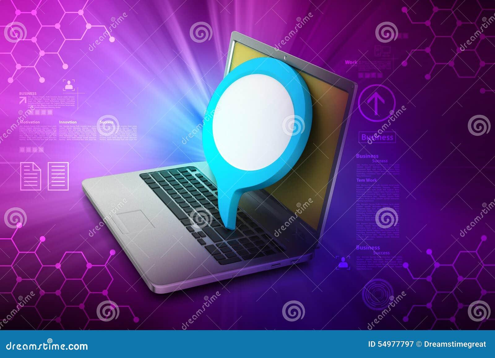 Bärbar dator med att prata bubblan