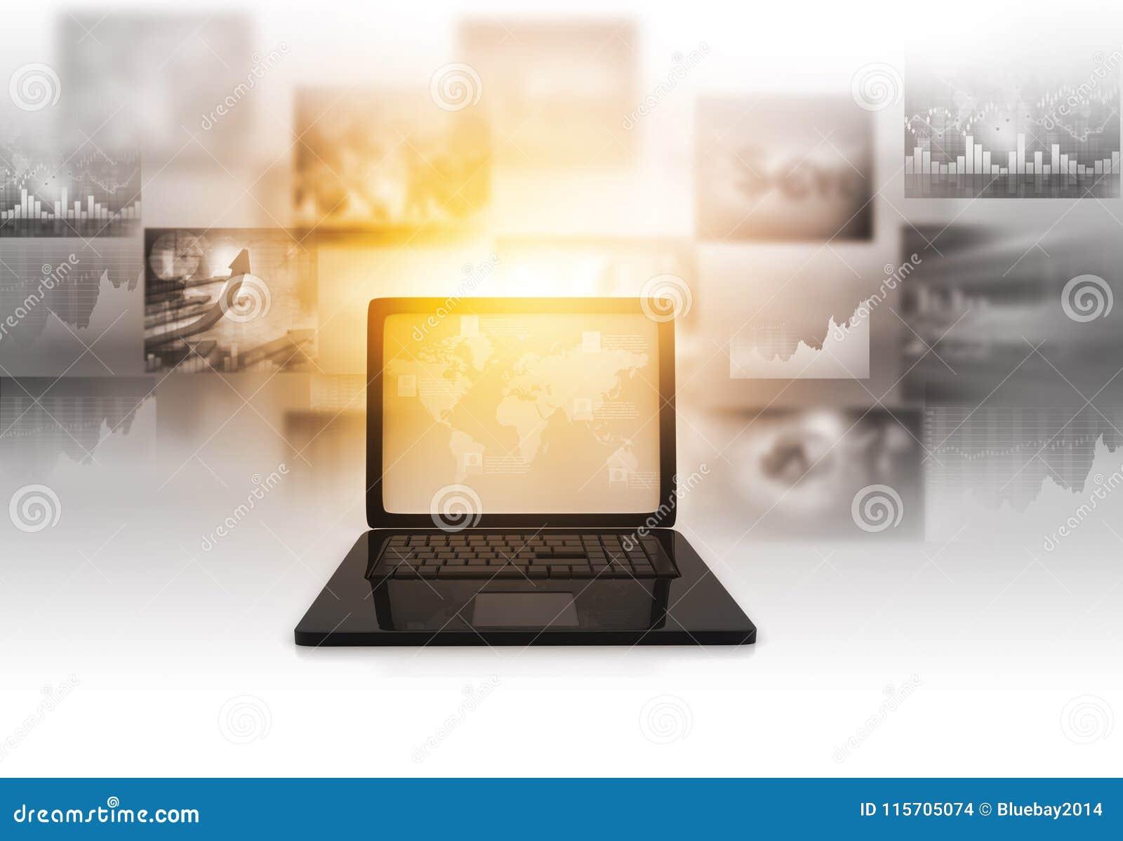 Bärbar dator med diagram för information om affärsgraf