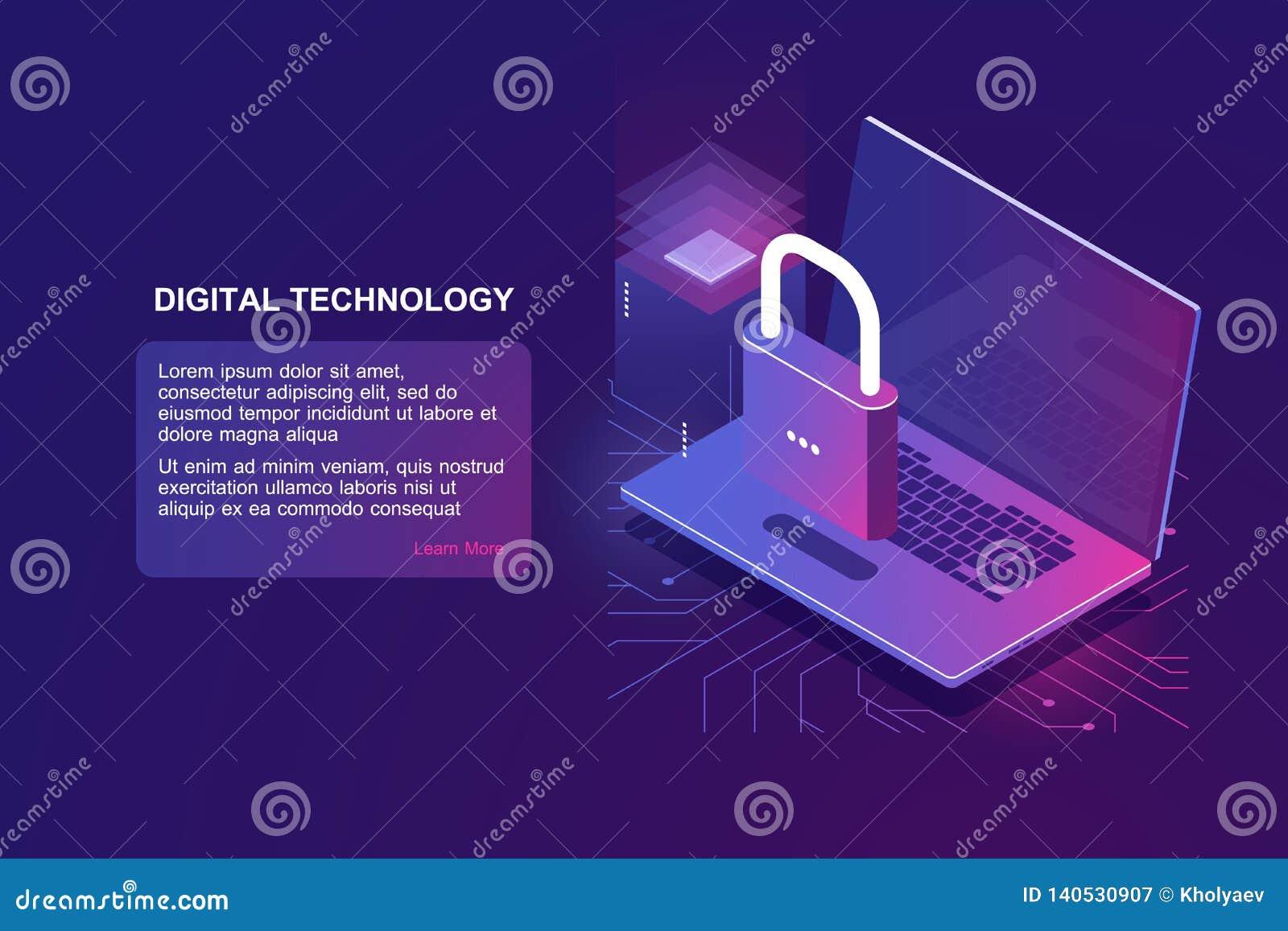 Bärbar dator med låset, isometrisk symbol för datorsäkerhet, dataskydd, säkerhet i internet, personlig information om skydd