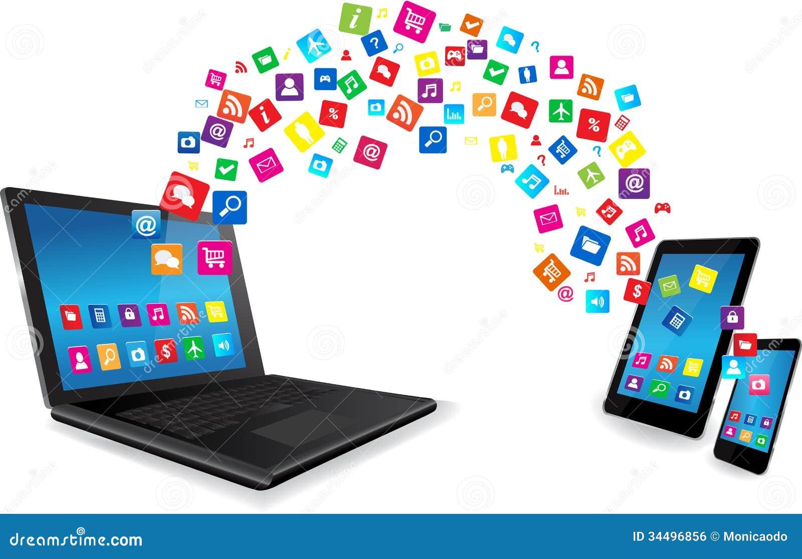 Bärbar dator-, minnestavlaPC och smart telefon med Apps