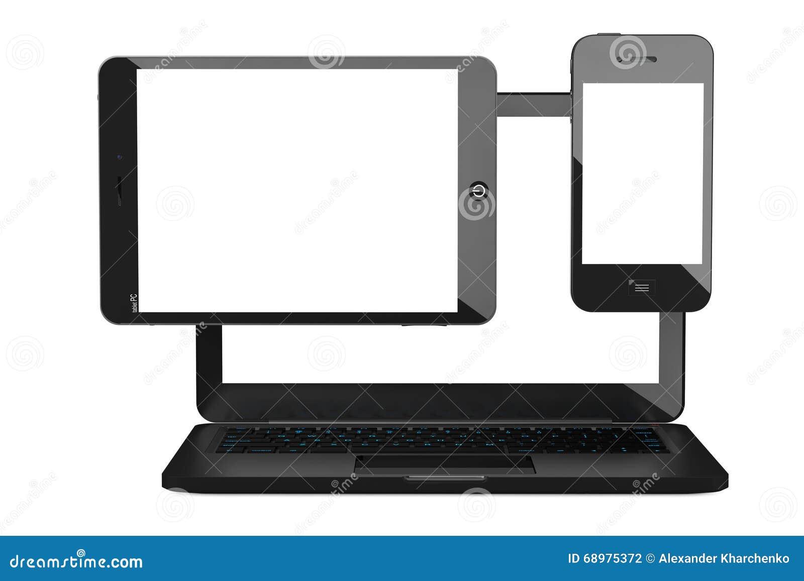 Bärbar dator-, mobiltelefon- och minnestavlaPC framförande 3d