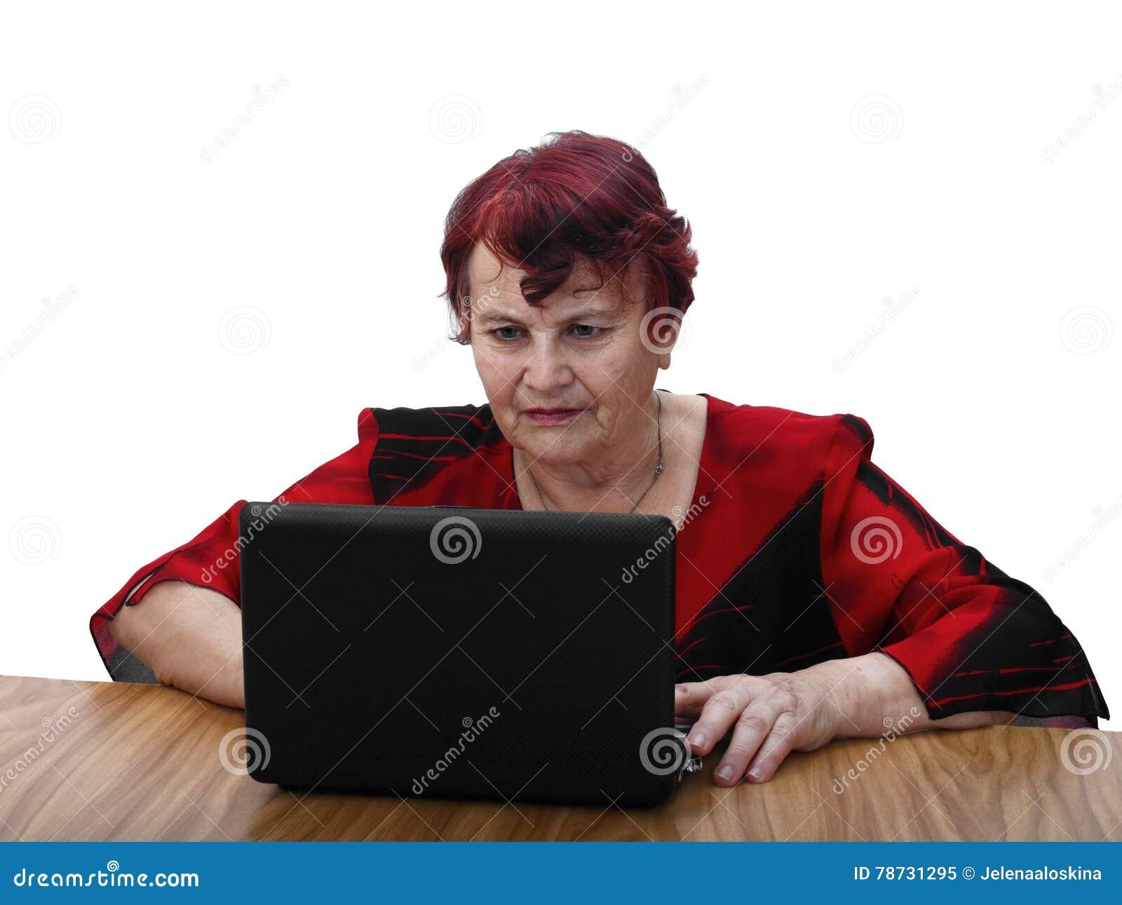 Bärbar datorpensionärkvinna