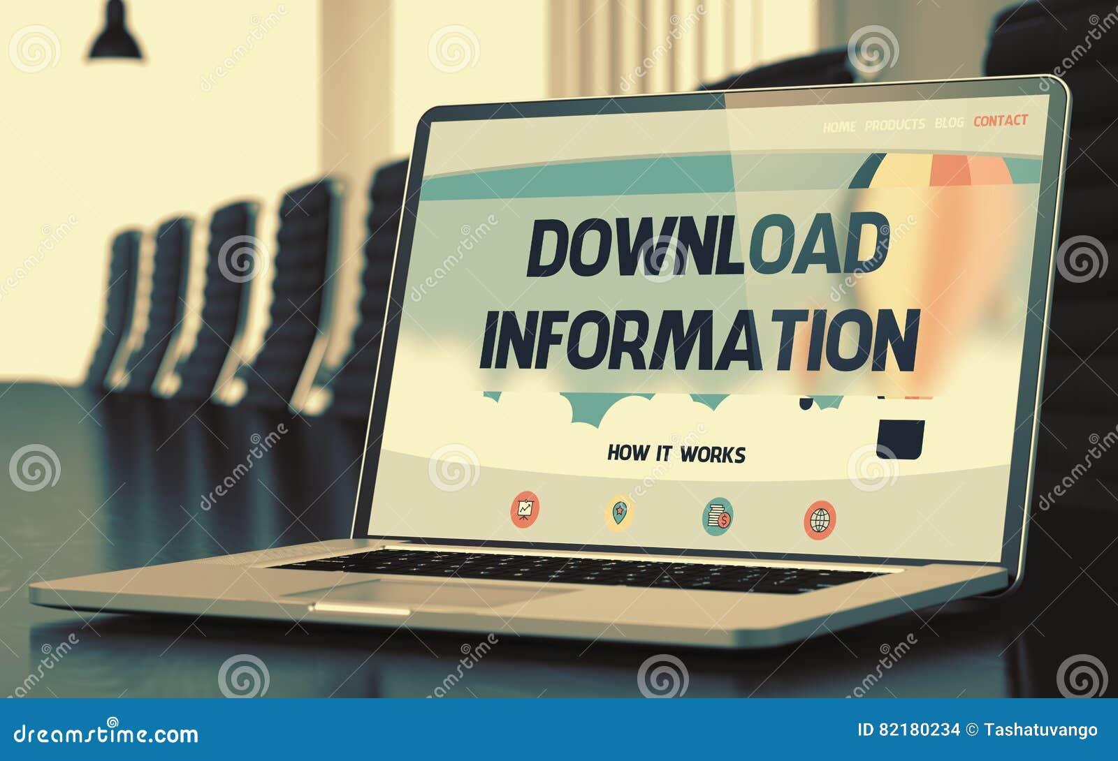Bärbar datorskärm med informationsbegrepp om nedladdning 3d