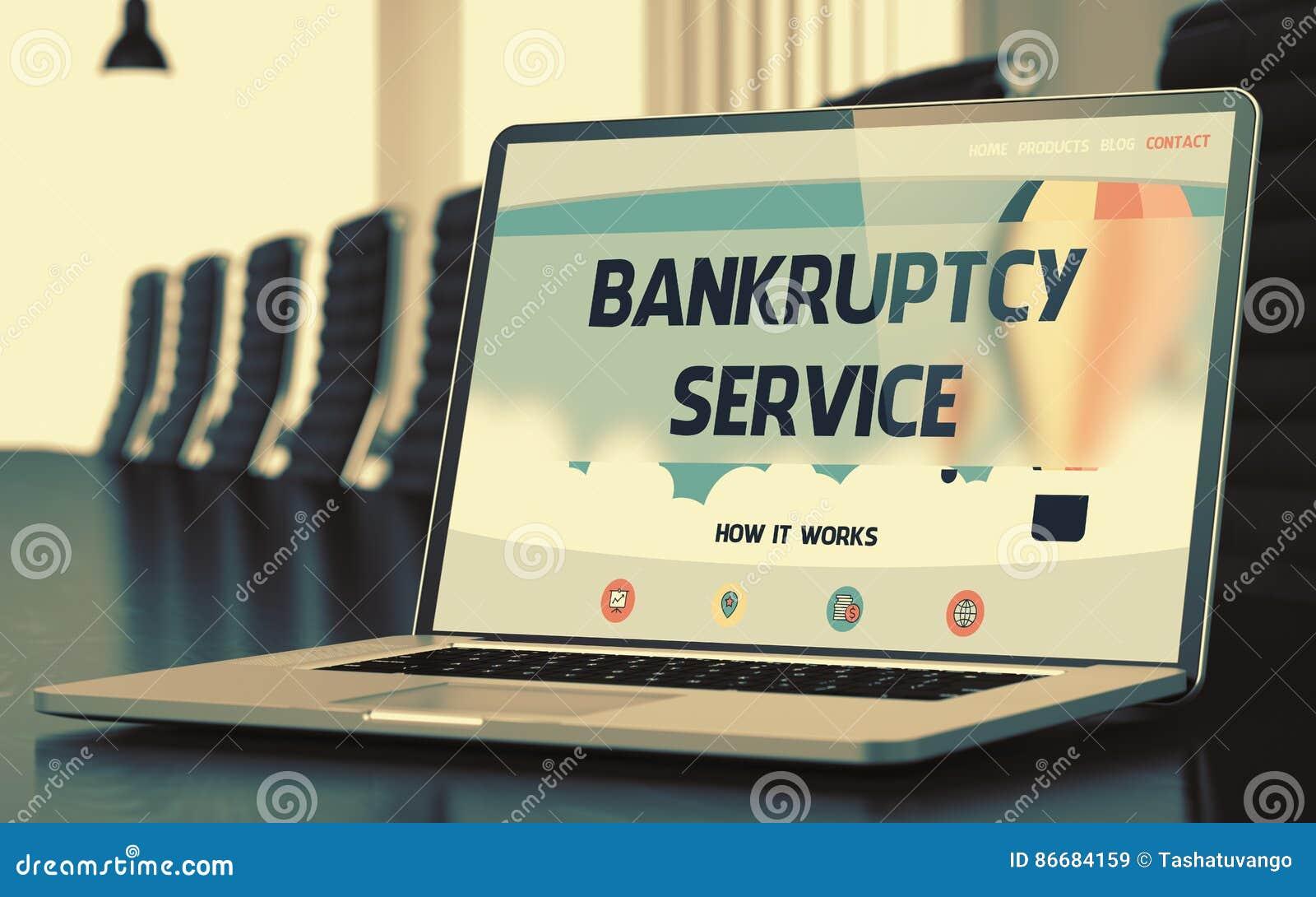Bärbar datorskärm med konkursservicebegrepp 3d
