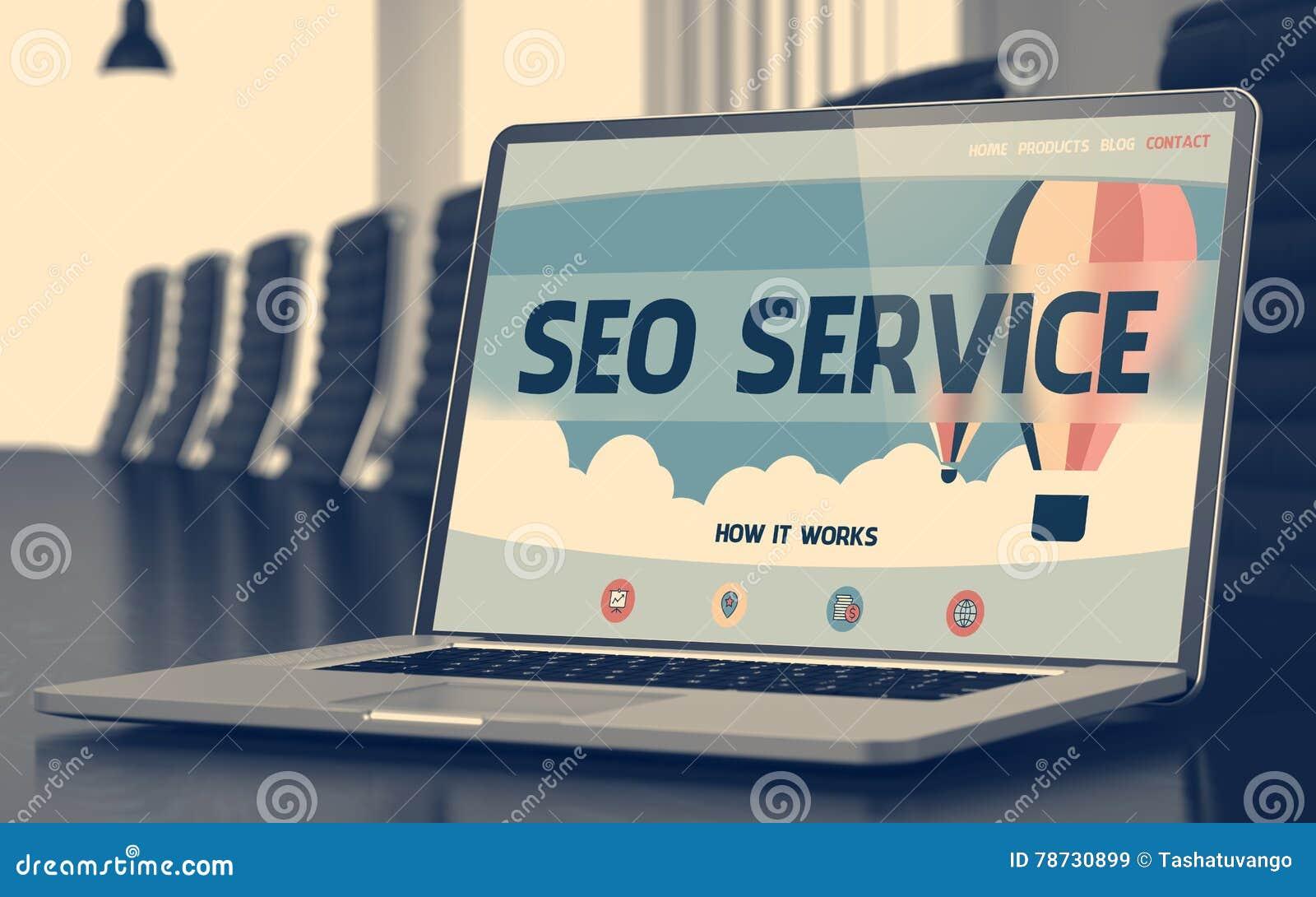 Bärbar datorskärm med SEO Service Concept 3d