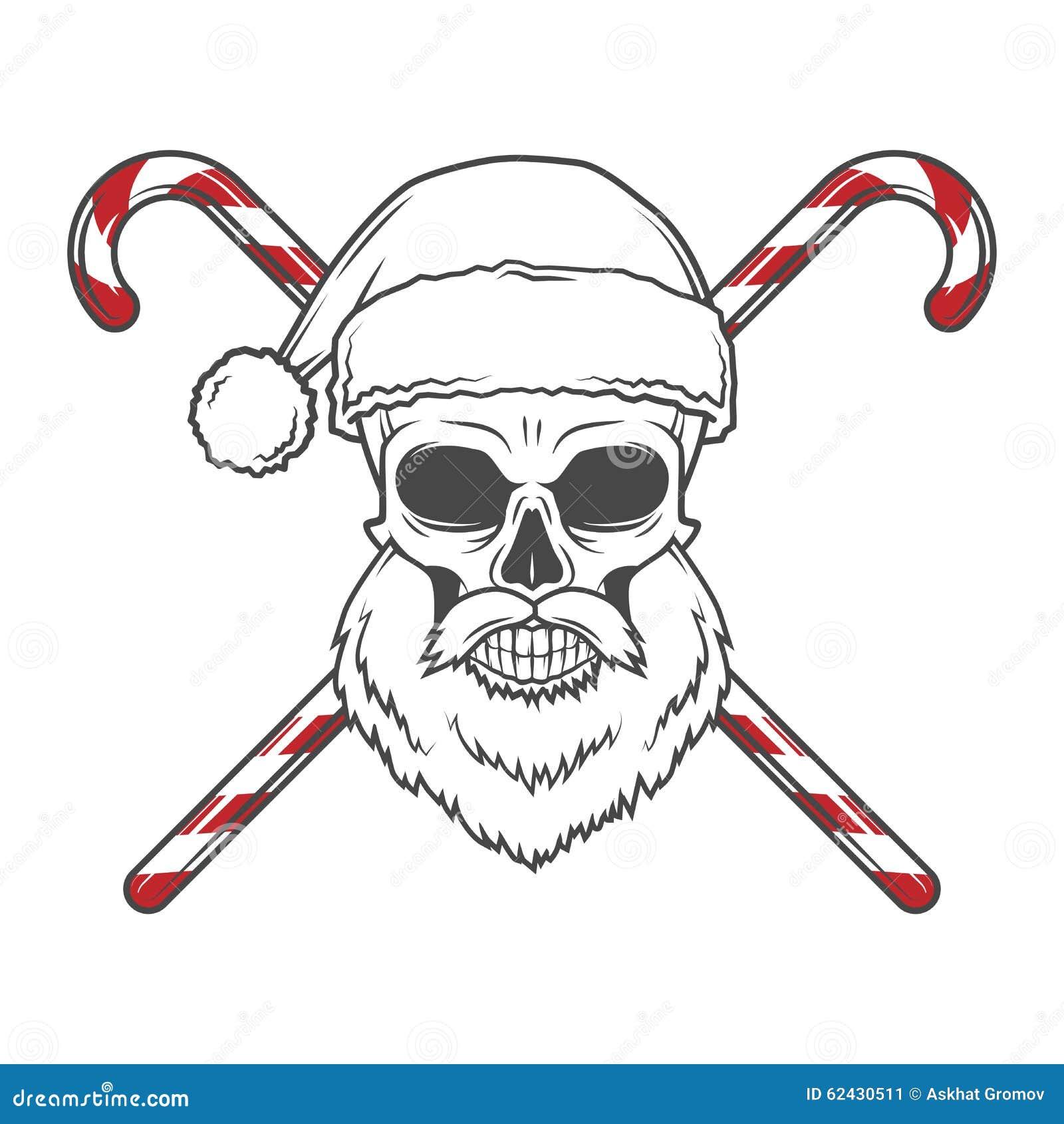 Bärtiger Schädel Santa Claus Mit Zuckerstangeplakat Vektor Abbildung ...