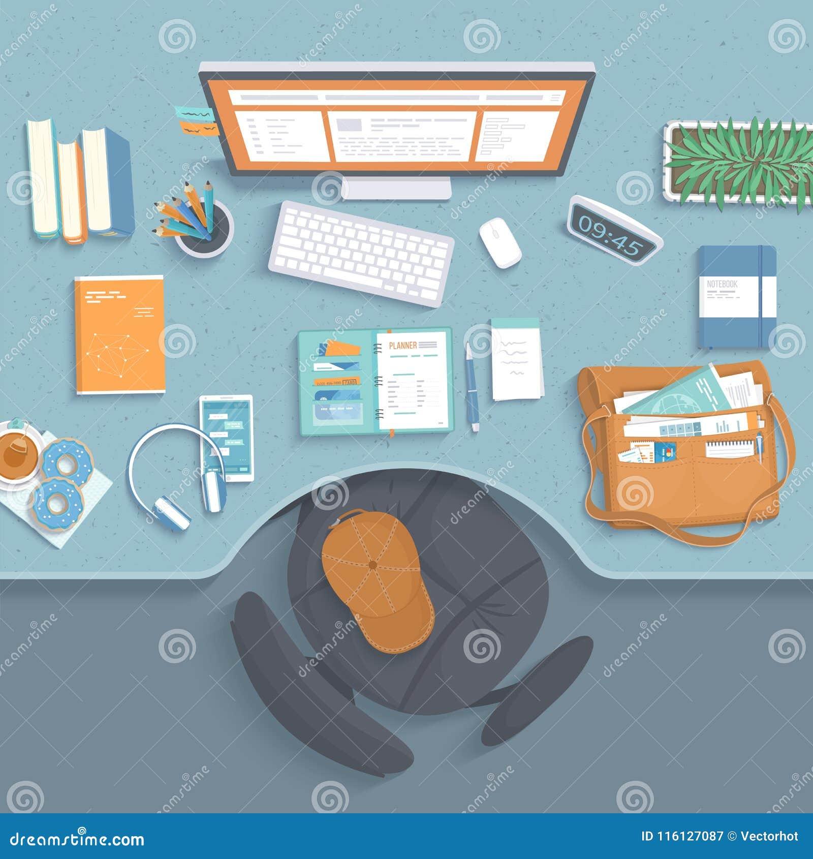 Bästa sikt av arbetsplatsen Tabell med fördjupning, fåtölj, bildskärm, böcker, anteckningsbok, hörlurar