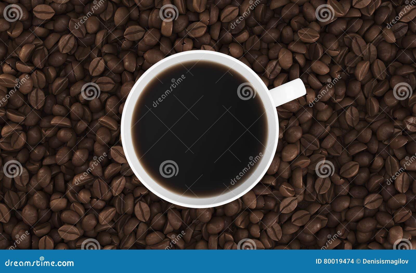 Bästa sikt av koppen kaffe på dess bönor