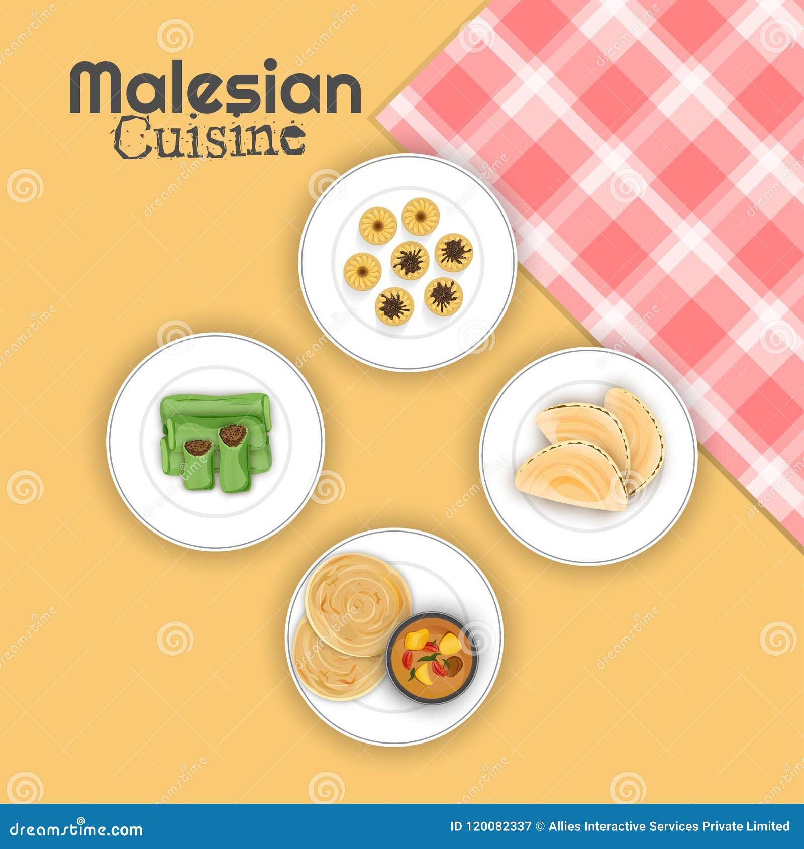 Bästa sikt av Malesian kokkonst med den rutiga servetten på gulingbac