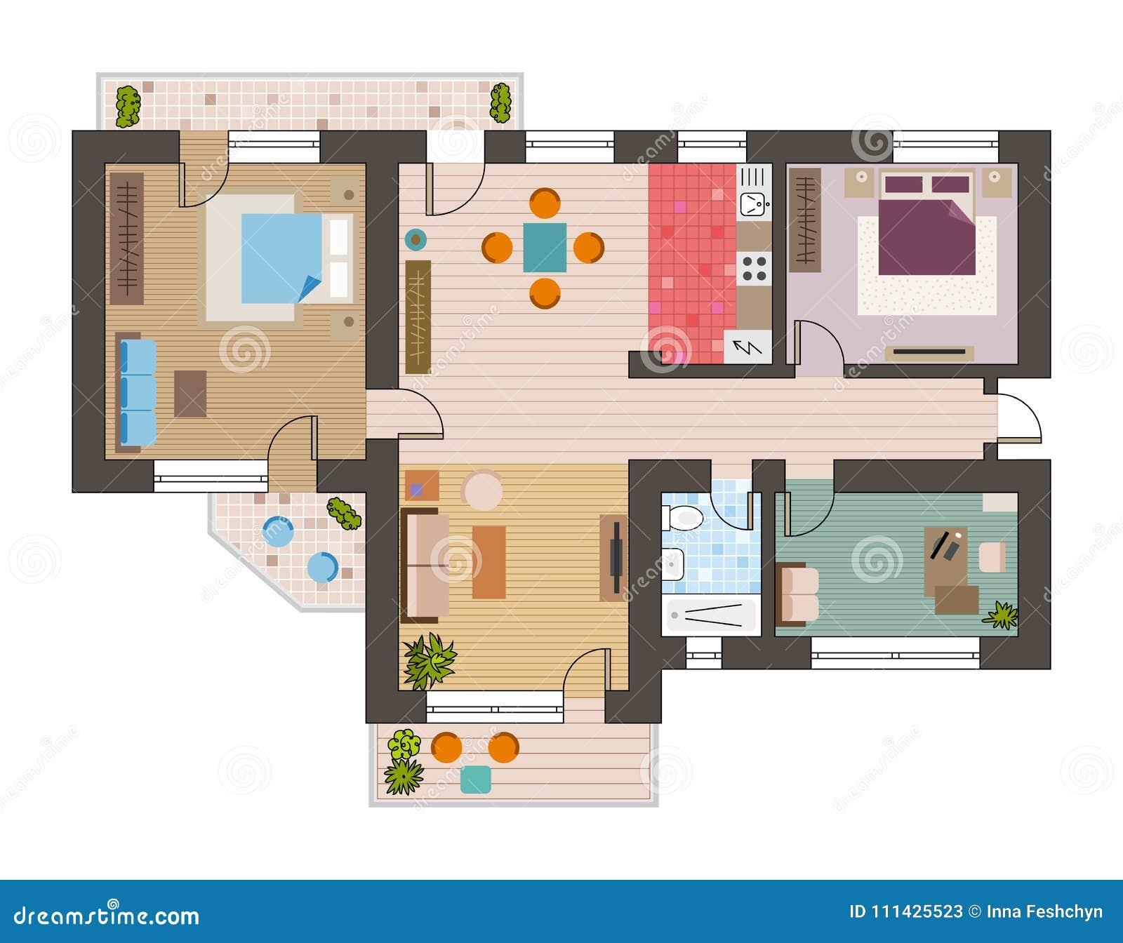 Bästa sikt för arkitektoniskt plant plan med illustrationen för vektor för möblemang för för vardagsrumbadrumkök och vardagsrum