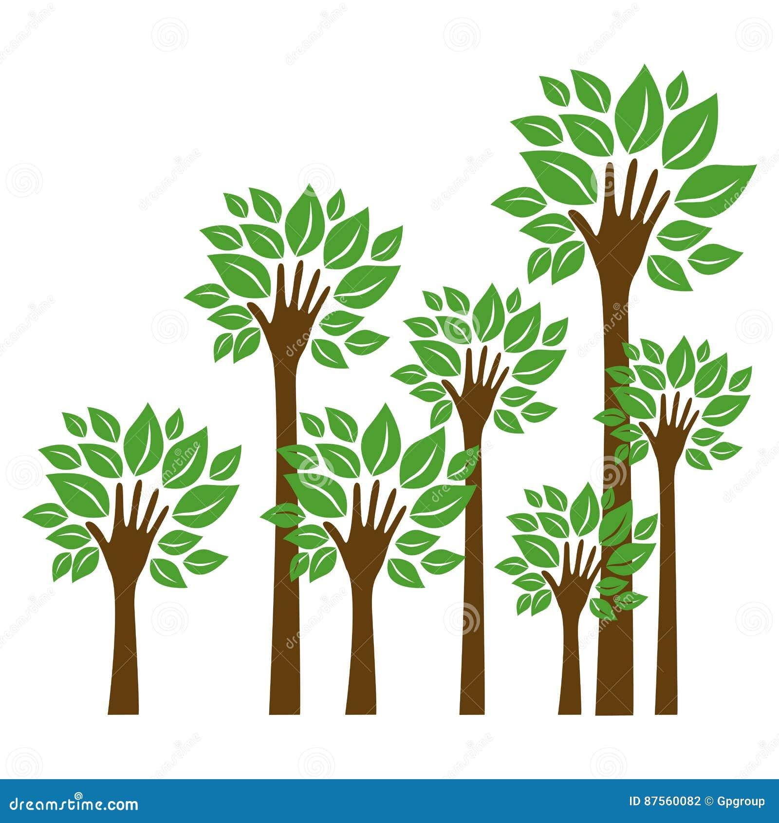 Bäume mit Stamm in der Formhandikone