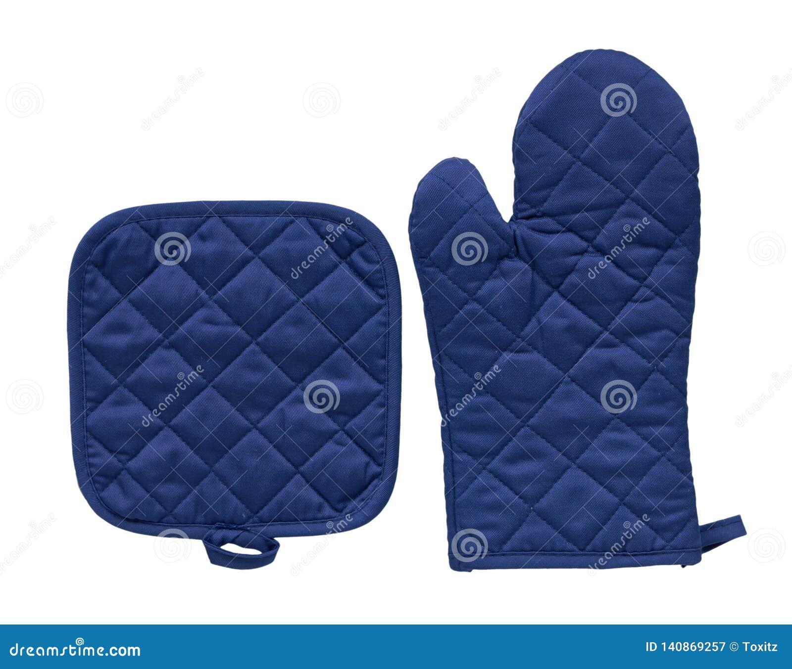 Błękitna kuchenna rękawiczka, upał ochrona i bezpieczeństwo,