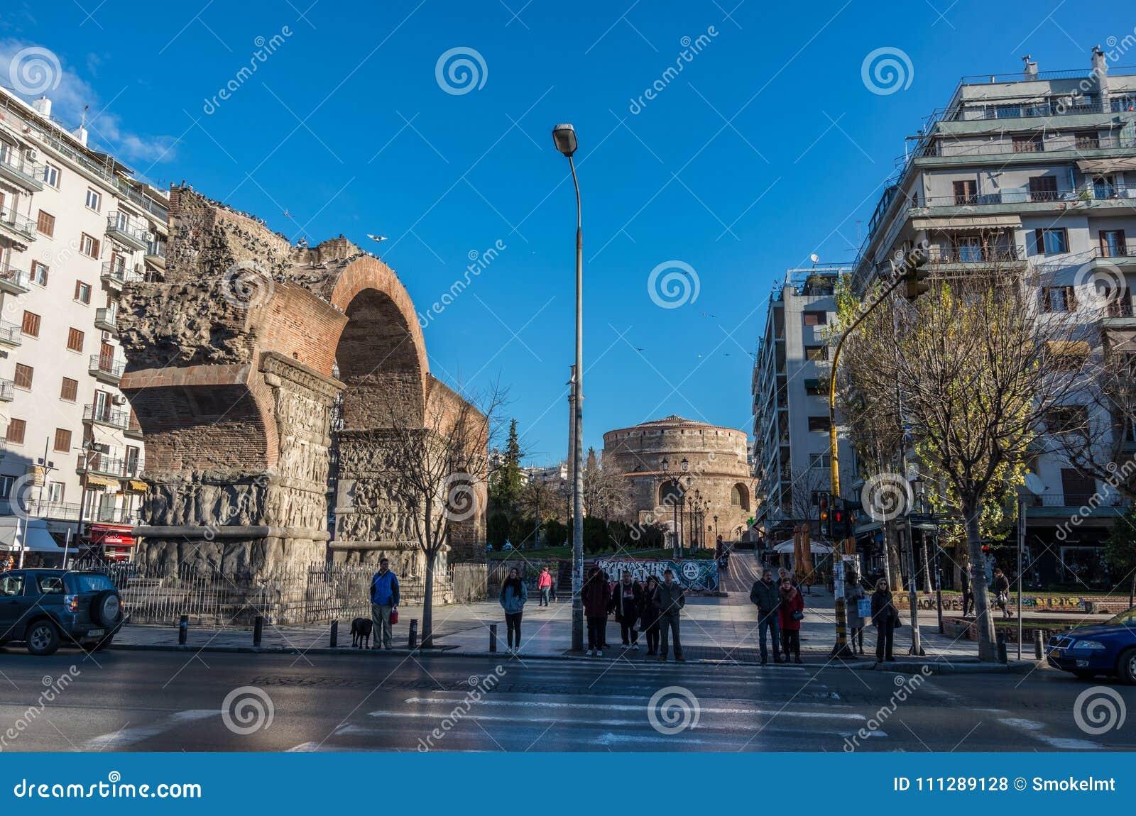Båge av Galerius eller Kamara och rotunda Thessaloniki Grecee