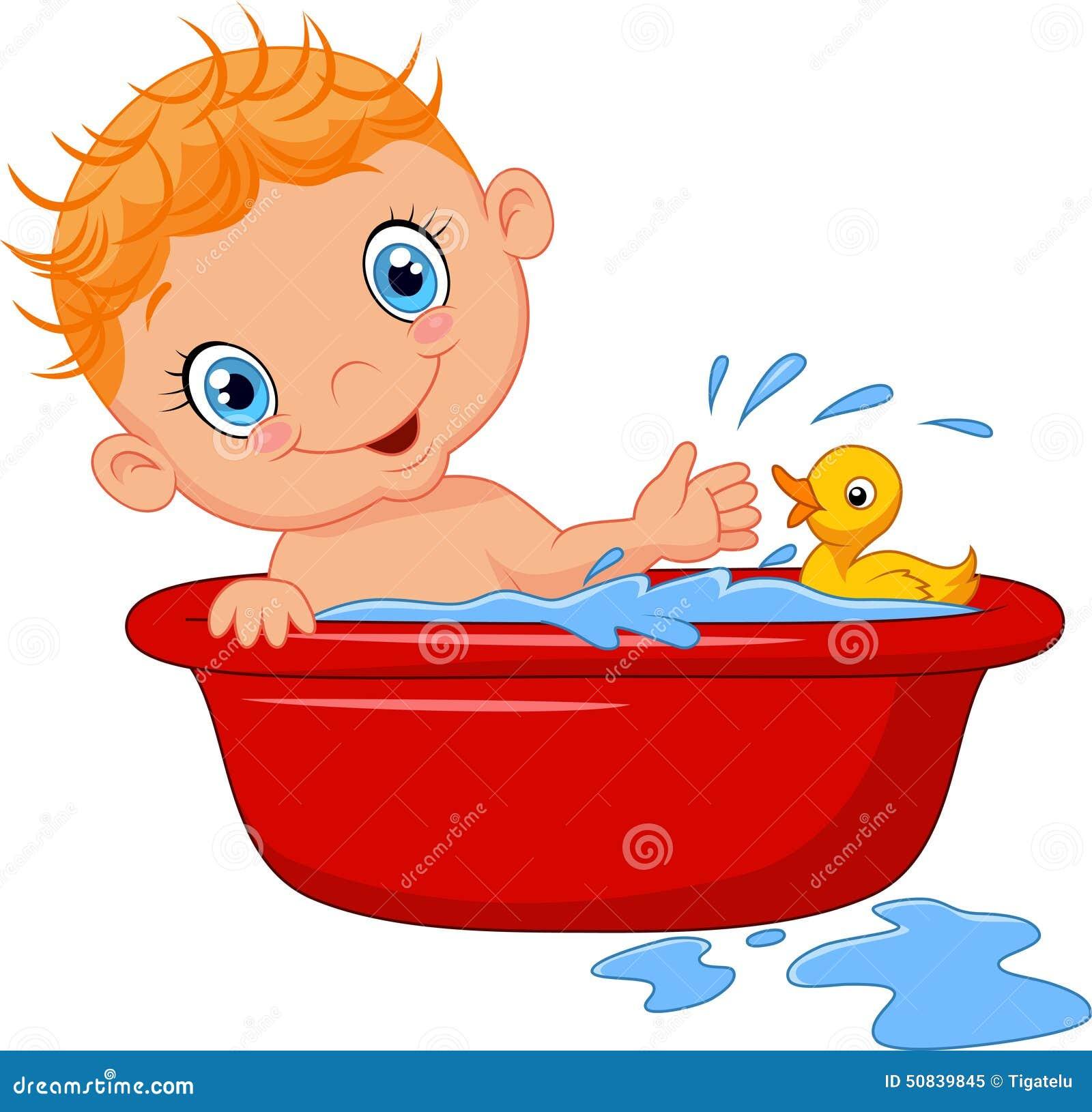 B b de bande dessin e dans un bain claboussant l 39 eau illustration de vecteur image 50839845 for Photo dans un bain