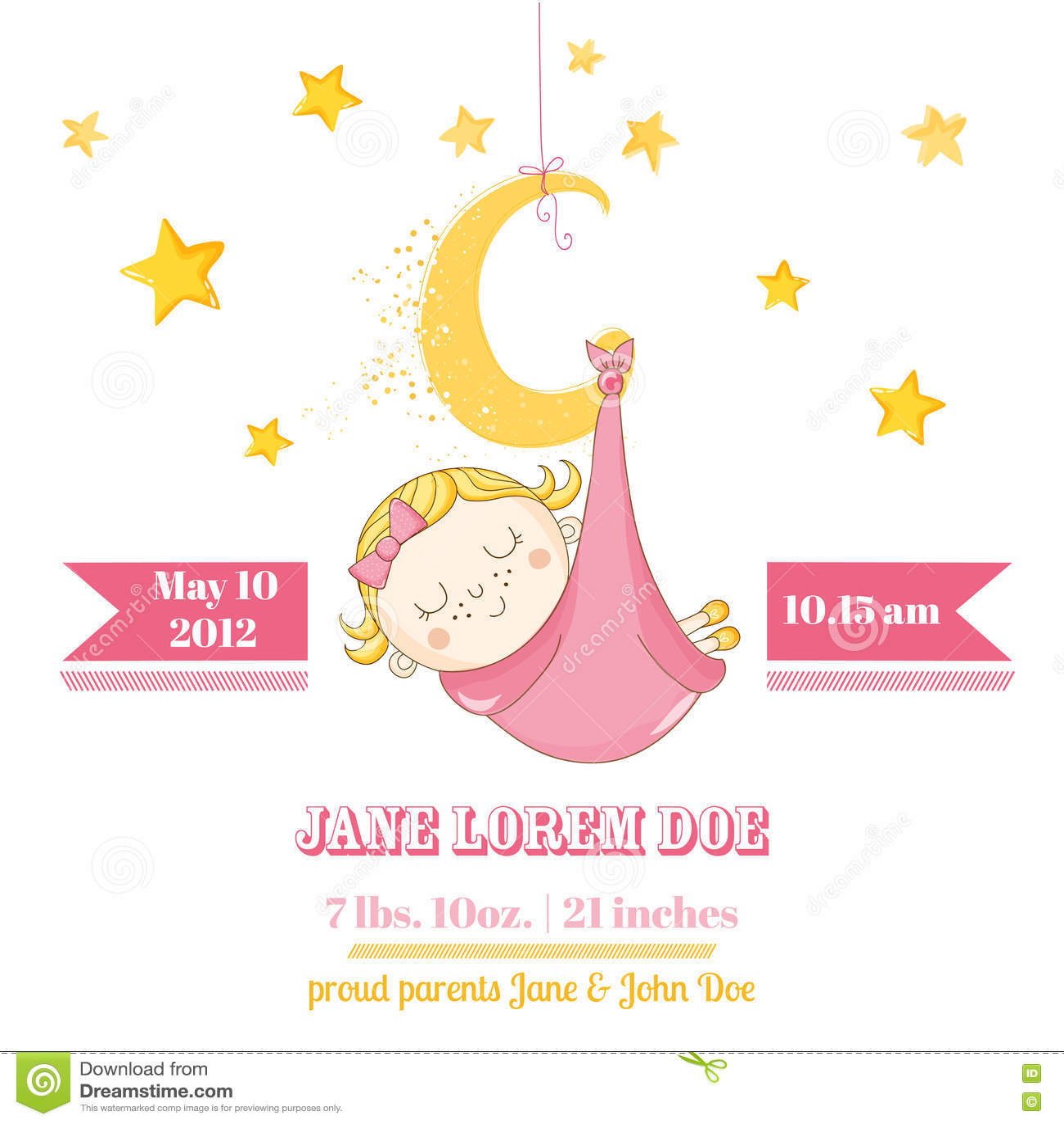 Bébé Dormant Sur Une Lune Fête De Naissance Ou Carte Darrivée