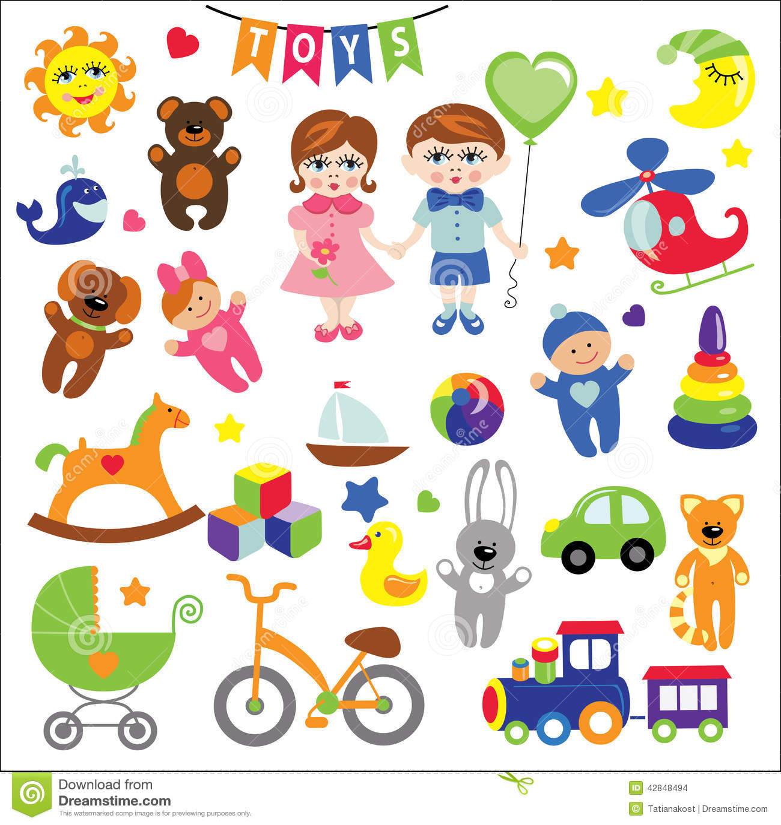 Bébé et garçon avec des icônes de jouet de bébé ENV