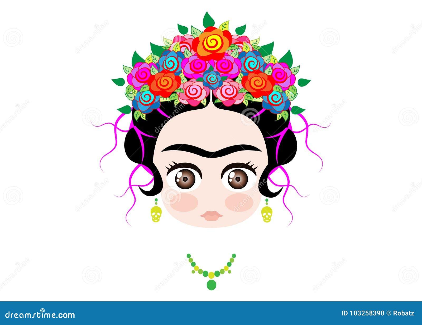 Bébé Frida Kahlo d Emoji avec la couronne des fleurs colorées, d isolement