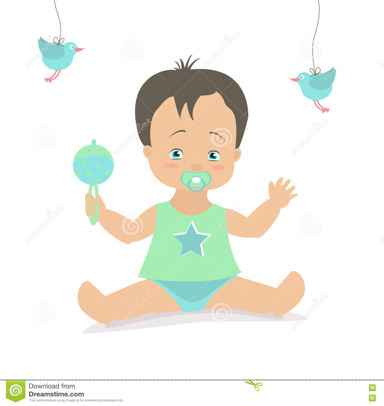 Dessin Bébé Garçon bébé garçon s'asseyant avec un hochet illustration de dessin animé