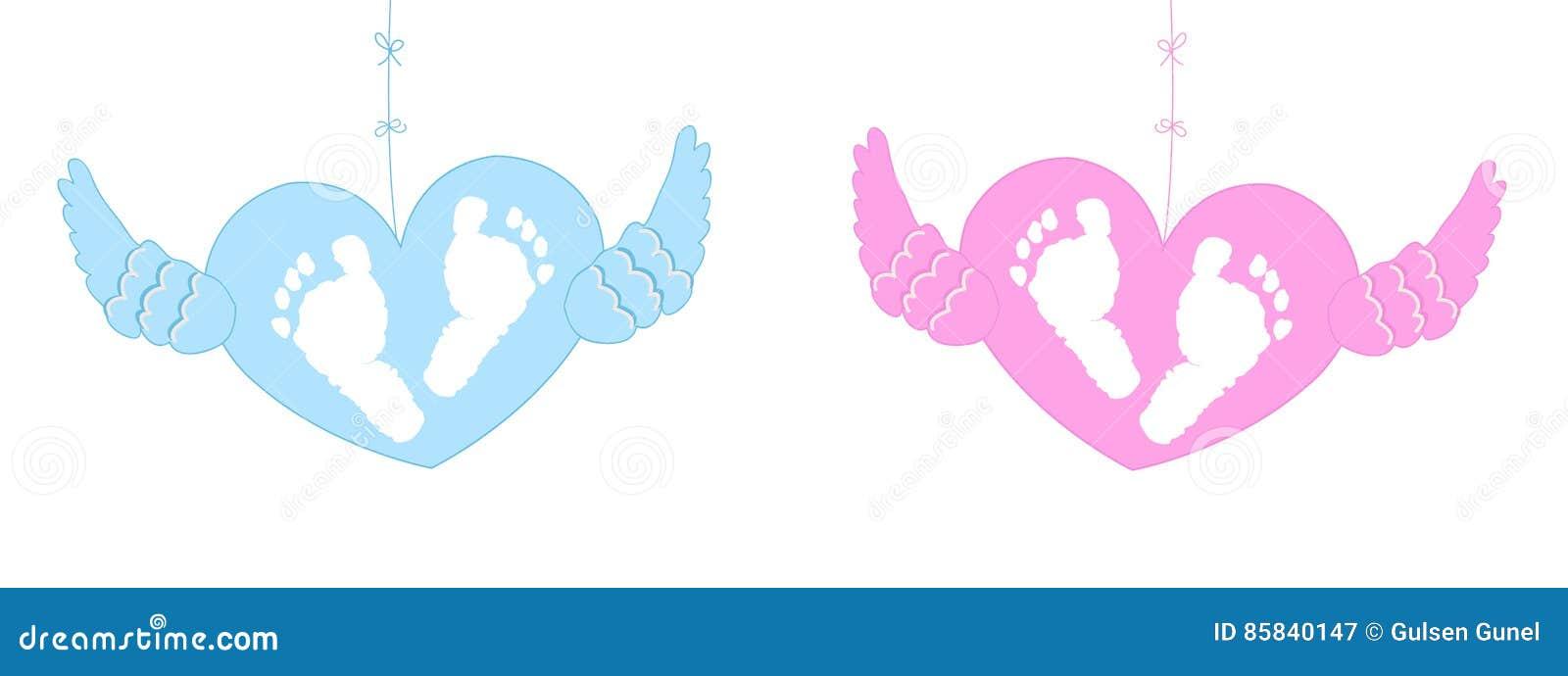 Bebe Jumeau Fille Garcon : Bébé jumeau garçon ailes du ` s d ange illustration