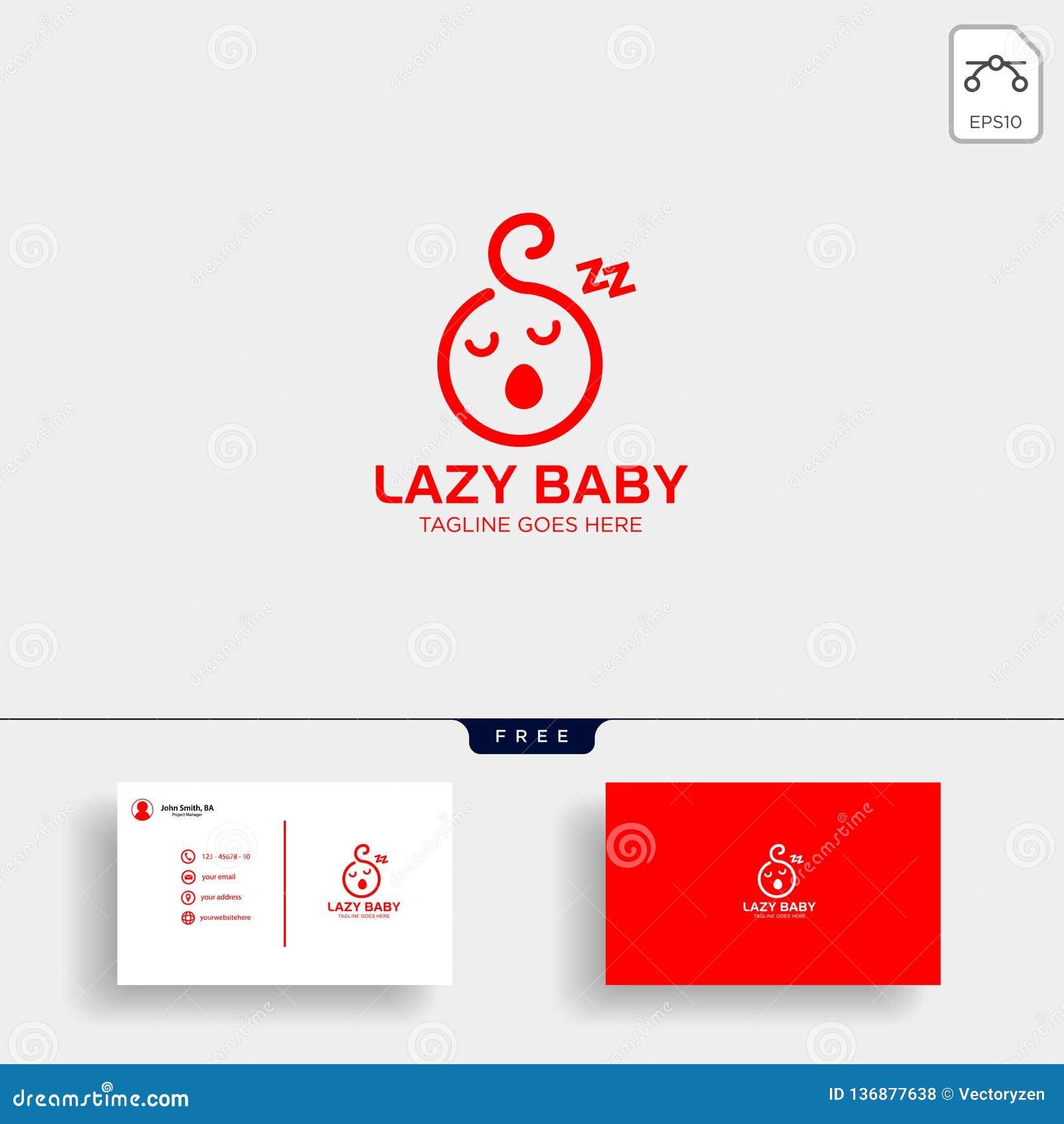 Bebe Paresseux Calibre Creatif De Logo D Enfant Avec La Carte Visite Professionnelle