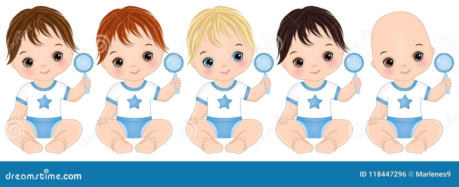 Bébés garçon mignons de vecteur avec des hochets Douche de bébé garçon de vecteur