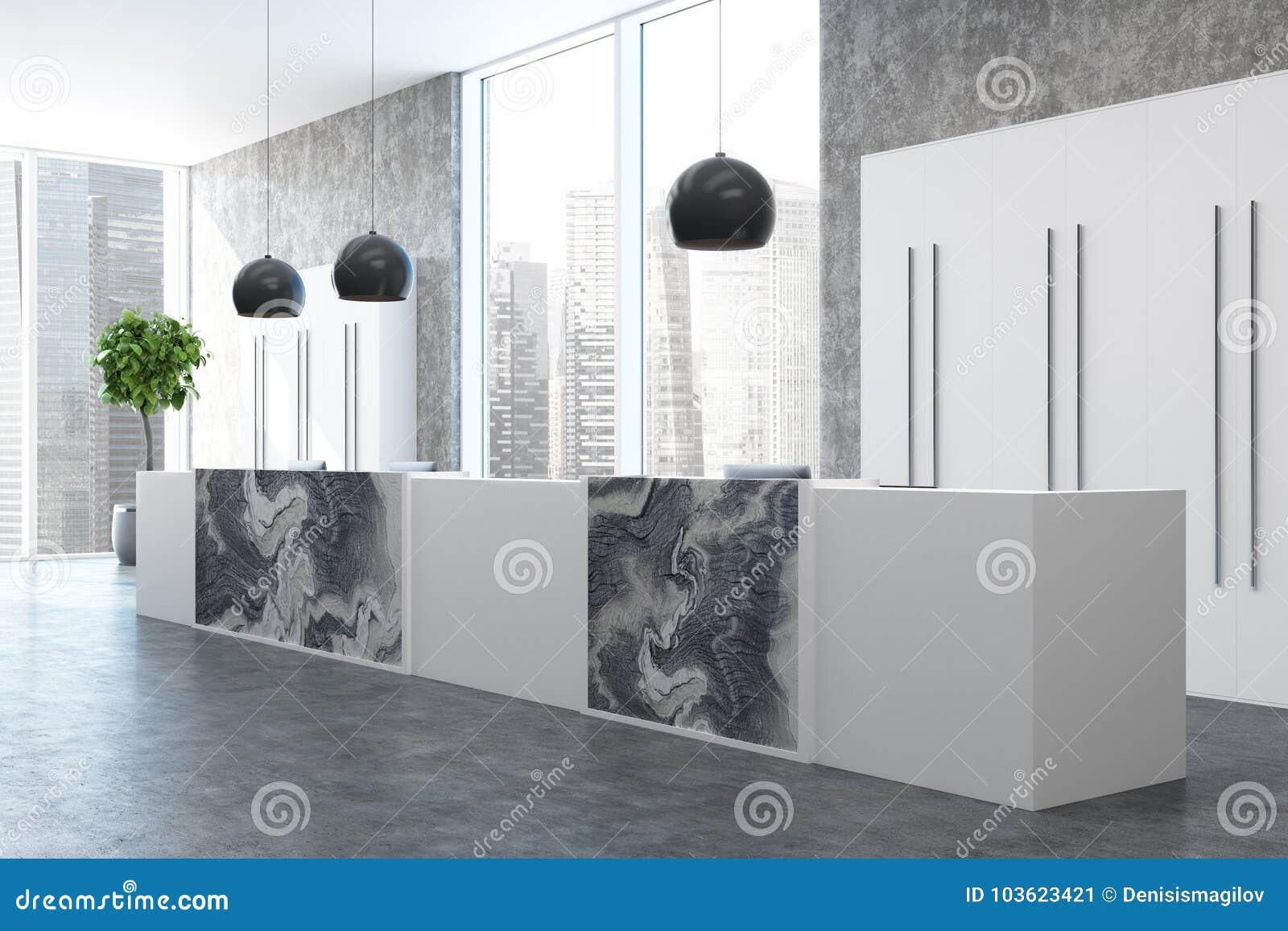 Béton coin de bureau de marbre haut étroit de réception