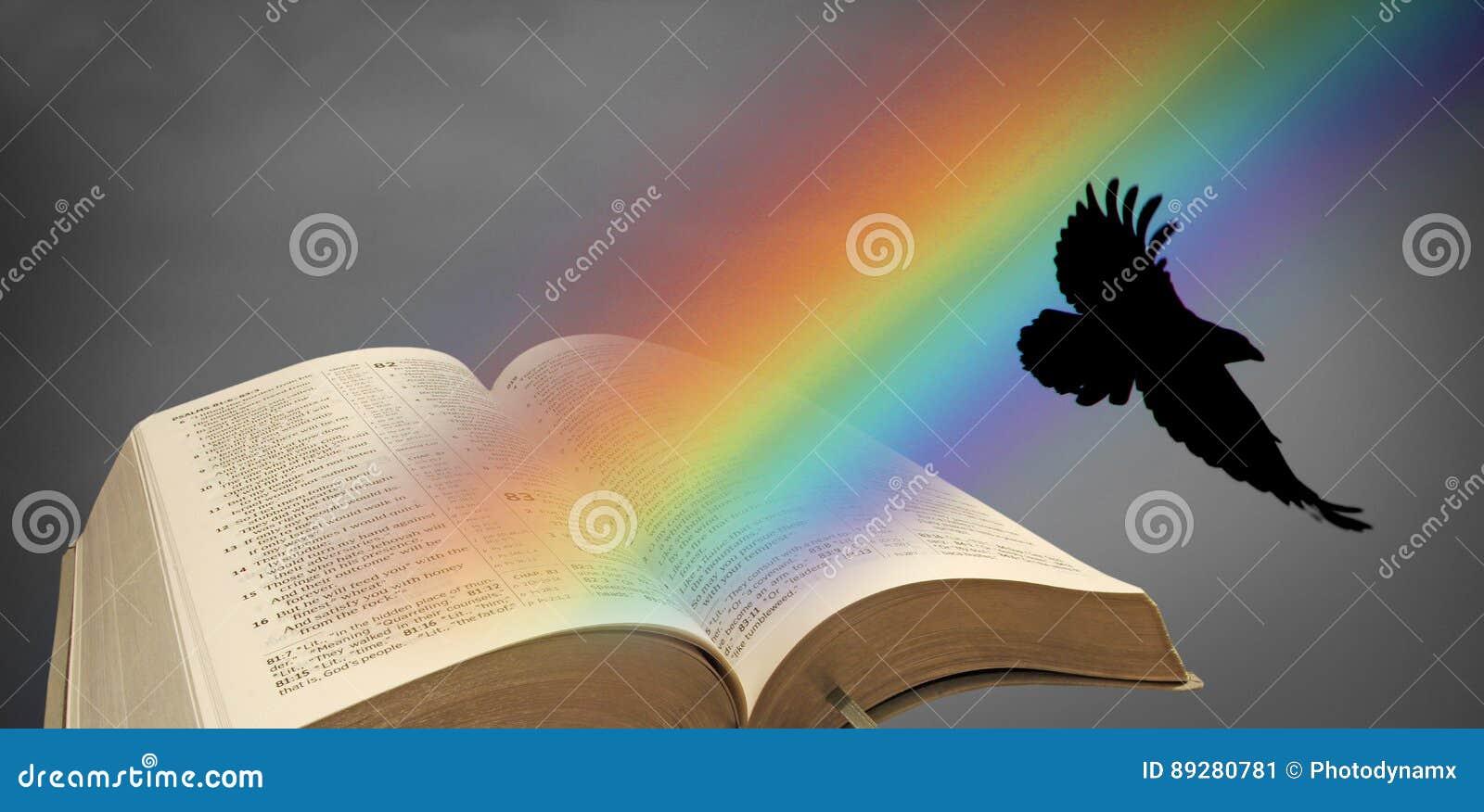 A Bíblia aberta do corvo do arco-íris de Noah