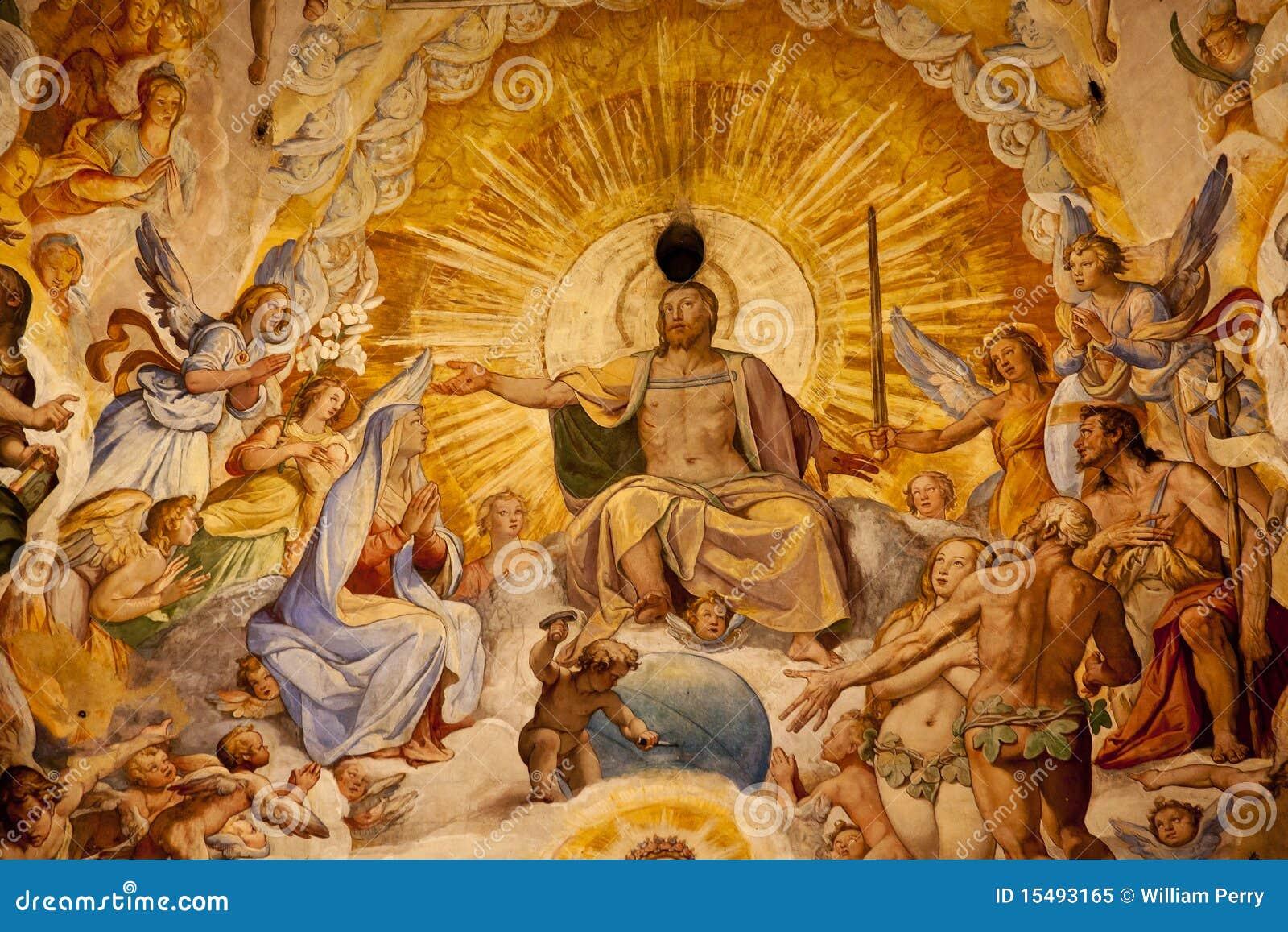 Bóveda Florencia del Duomo del fresco de Vasari del Jesucristo