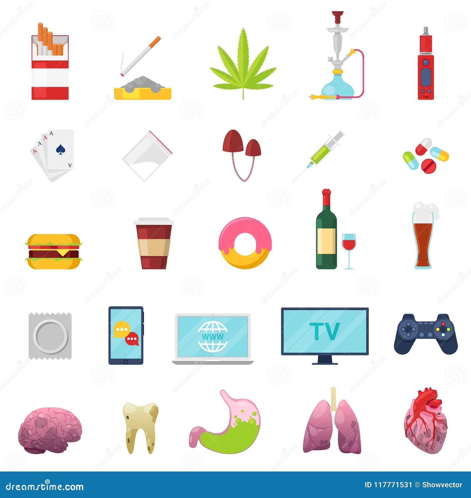 Böjelsevektorn missbrukade och oskick som röker den fastfood- eller för alkoholmissbruk illustrationuppsättningen av sjuk lever f