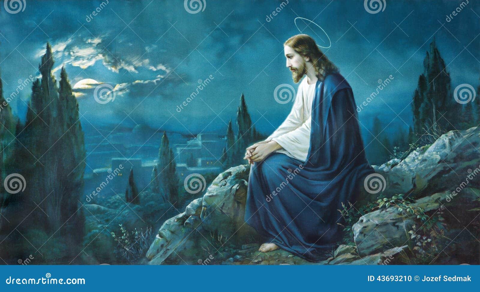 Bönen av Jesus i den Gethsemane trädgården Typisk cahtolic utskrivaven bild från slutet av 19 cent