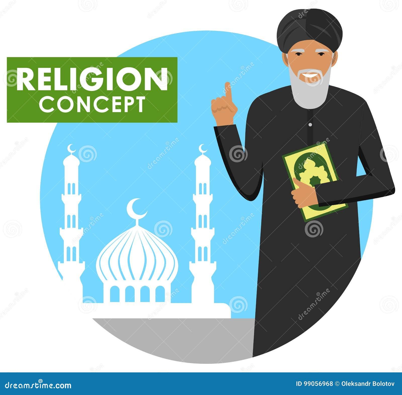 Böntid religion för bokbegreppskors Mufti med qurananseende på bakgrundskonturn av moskén och minaret Mulla med Koranen mu