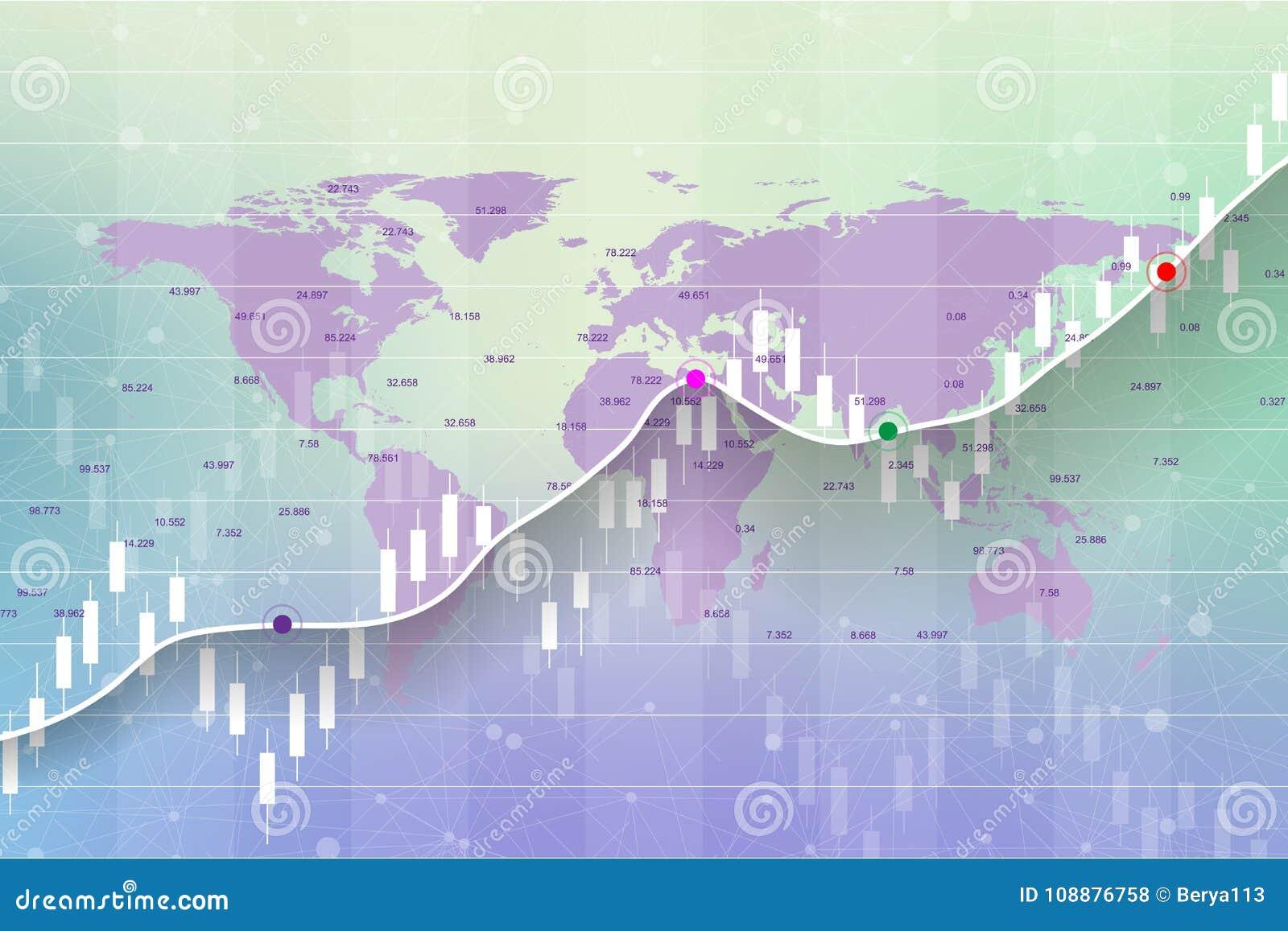 Börse und Austausch Kerzenhalterdiagrammdiagramm der Börse-Investition, die auf Weltkartehintergrunddesign handelt