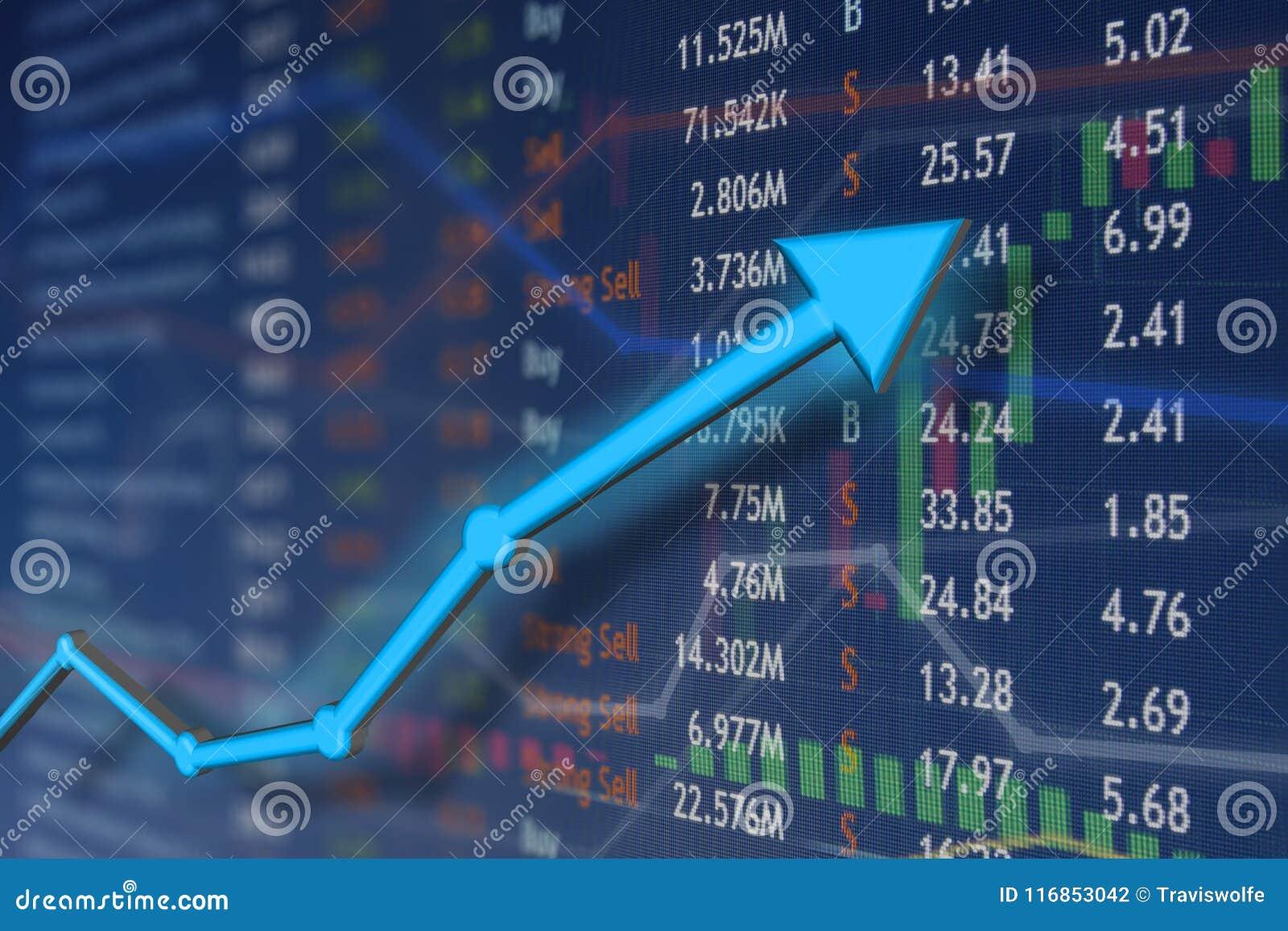 Börseaufstieg mit blauem Pfeil und verblaßten Kerzenständerdiagrammen Gewinnen und Erfolgsgefühl und -glück