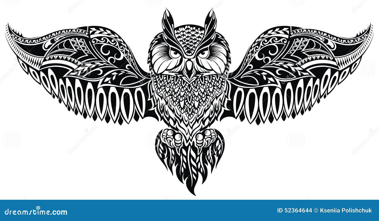 Búho En Estilo Del Tatuaje Ilustración Del Vector Ilustración De