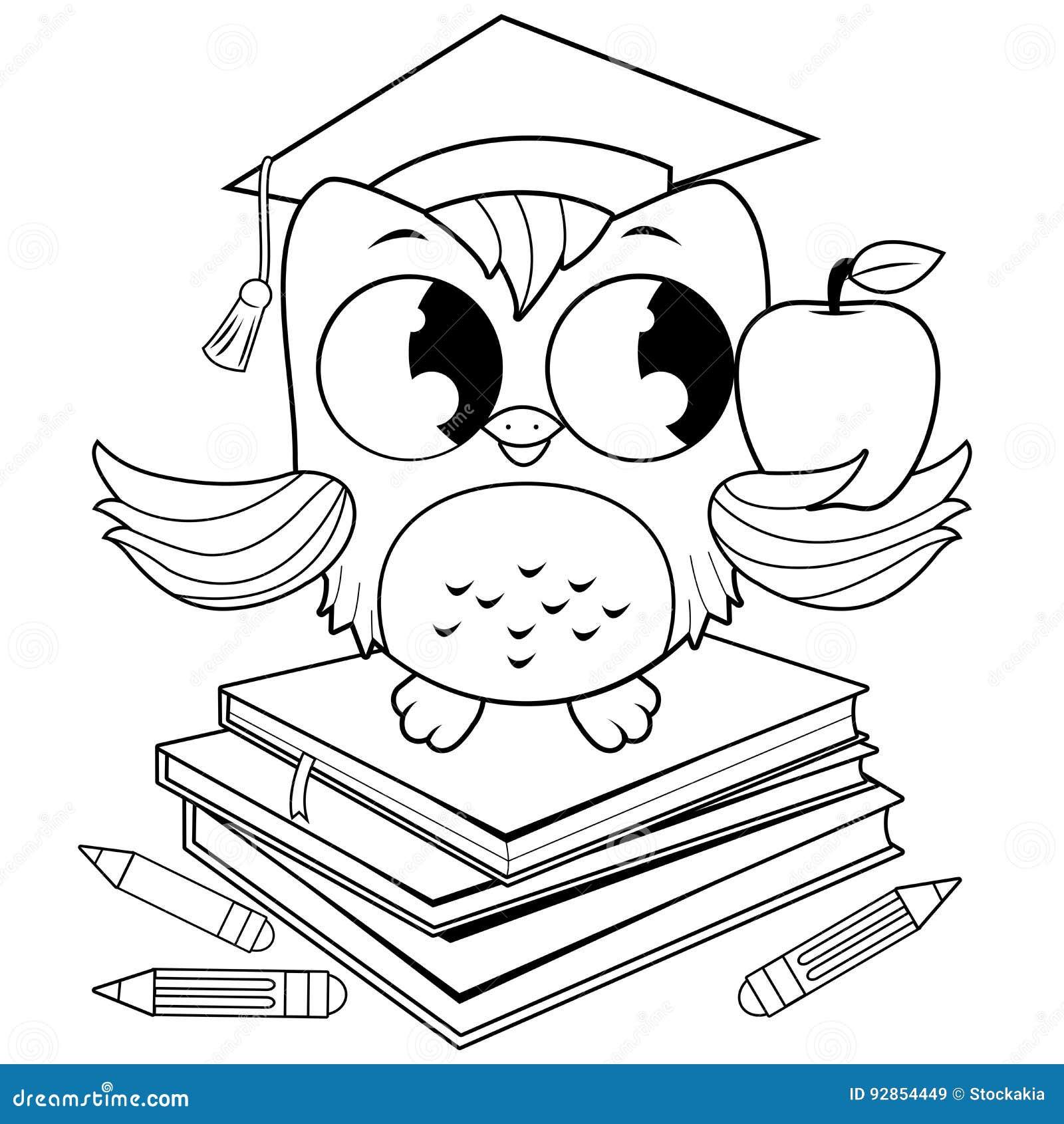Búho En Los Libros Con La Página Del Libro De Colorear Del Sombrero ...