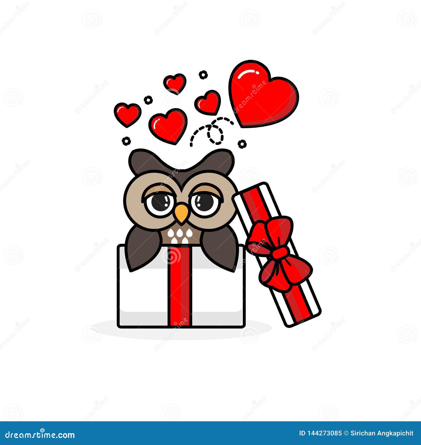Búho feliz dentro de la caja de regalo abierta con los corazones de la mosca Ilustraci?n del vector