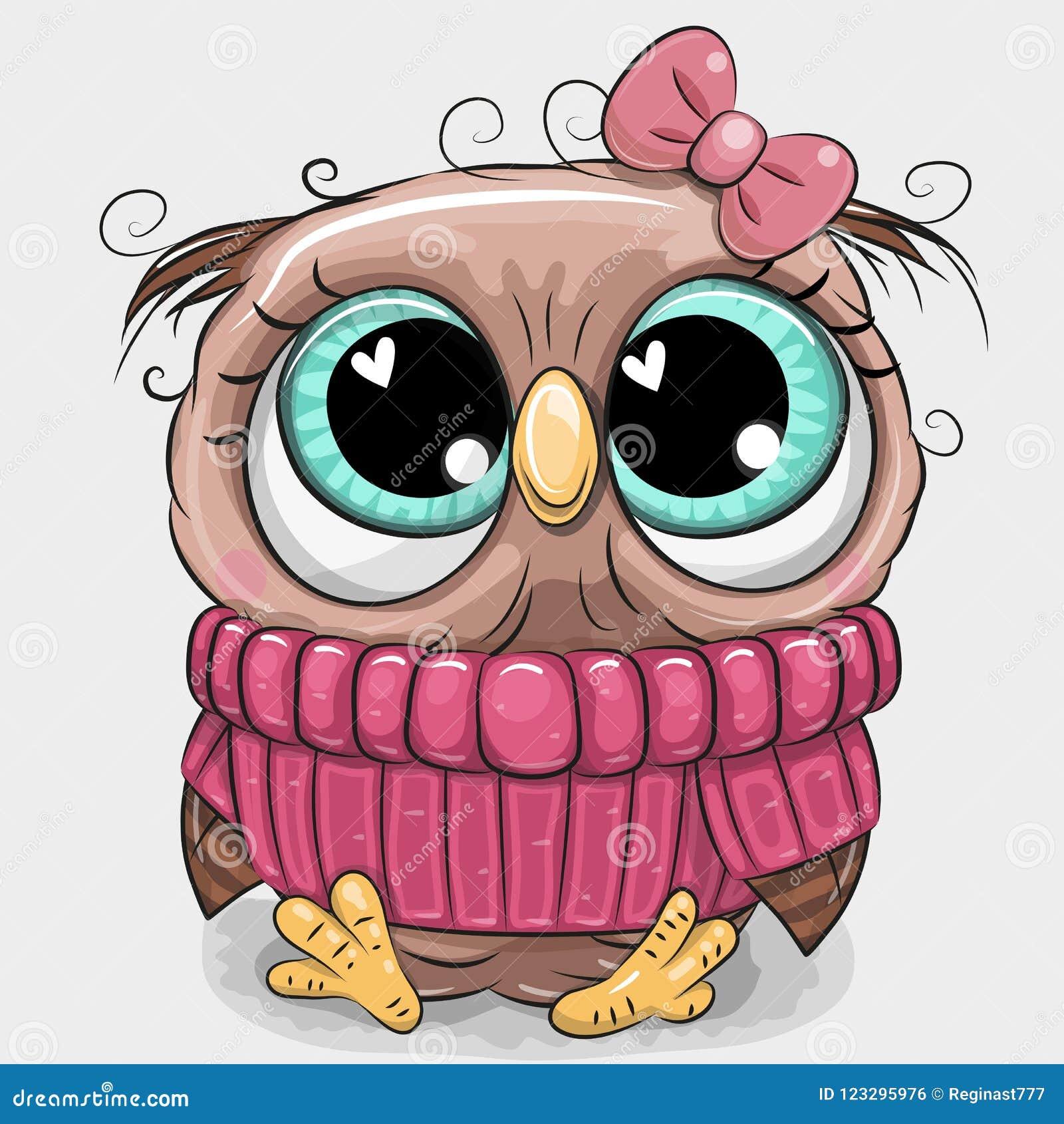 Búho lindo en suéter rosado