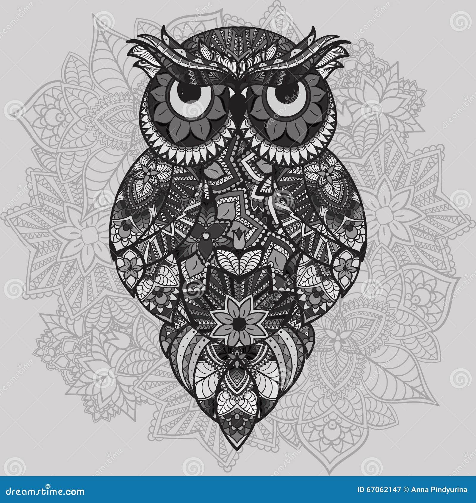 Buho Tatuaje Mandala búho modelado del vector en el fondo ornamental de la