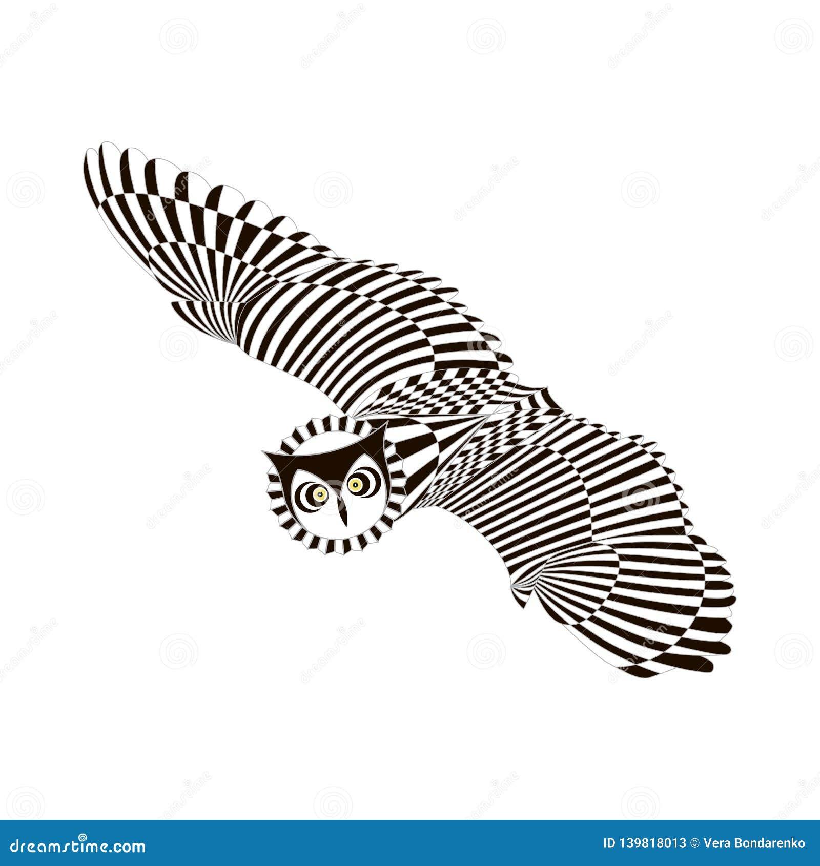 Búho modelado que vuela Estilo blanco negro del zentangle