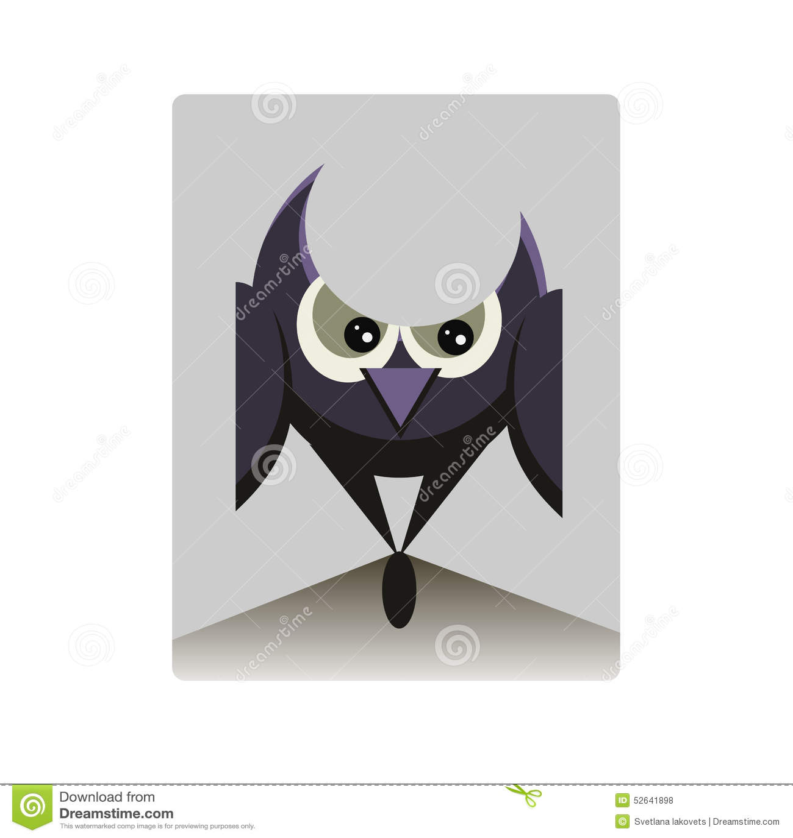 Búho Púrpura Con Los Ojos Grandes Ilustración del Vector ...