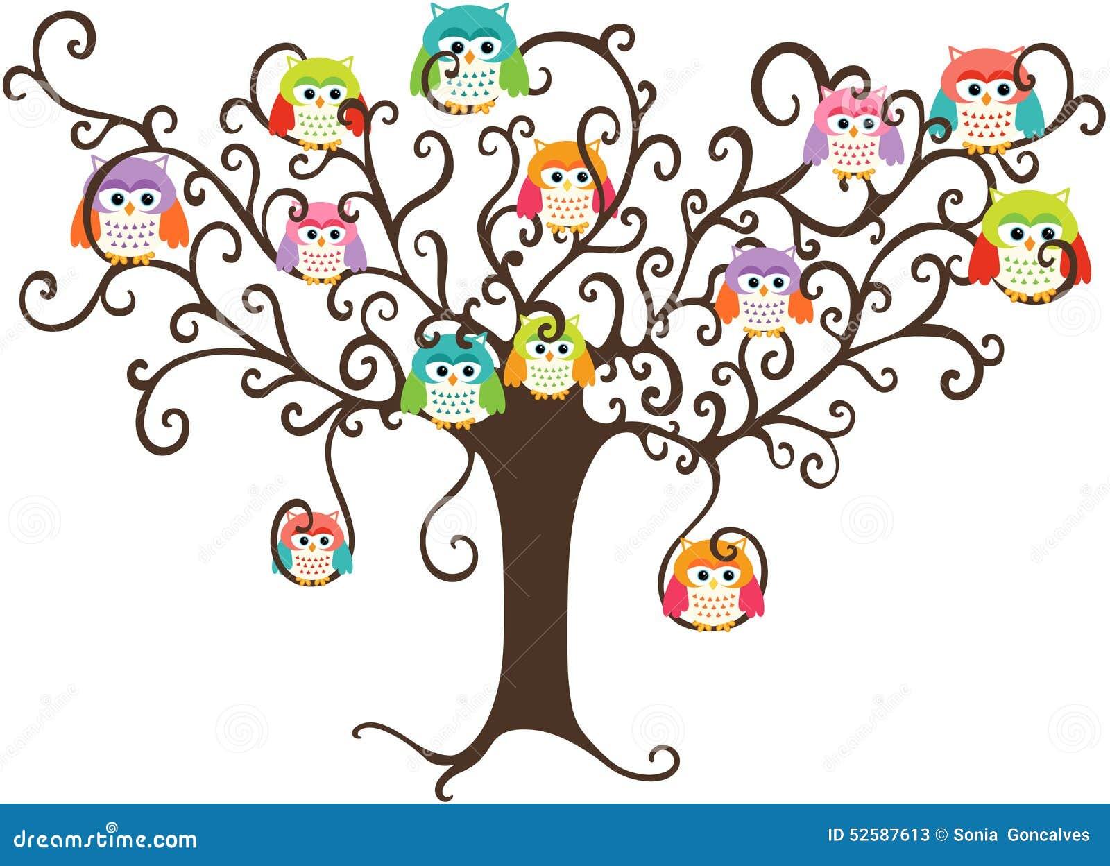 Búhos Coloridos En árbol Bonito Ilustración Del Vector Ilustración