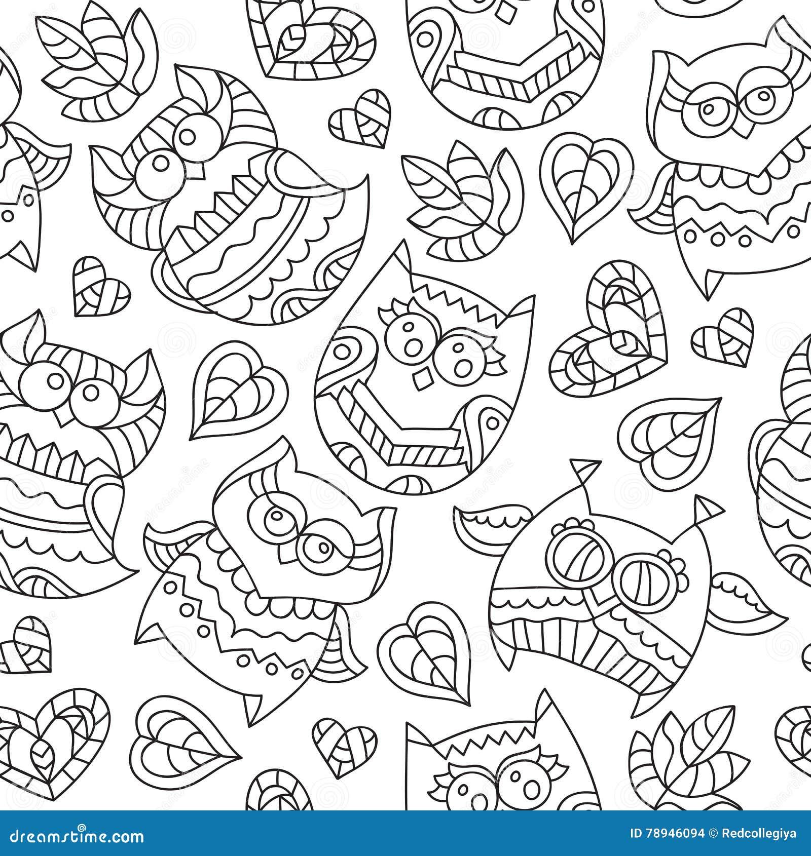 Búhos para colorear ilustración del vector. Ilustración de carácter ...