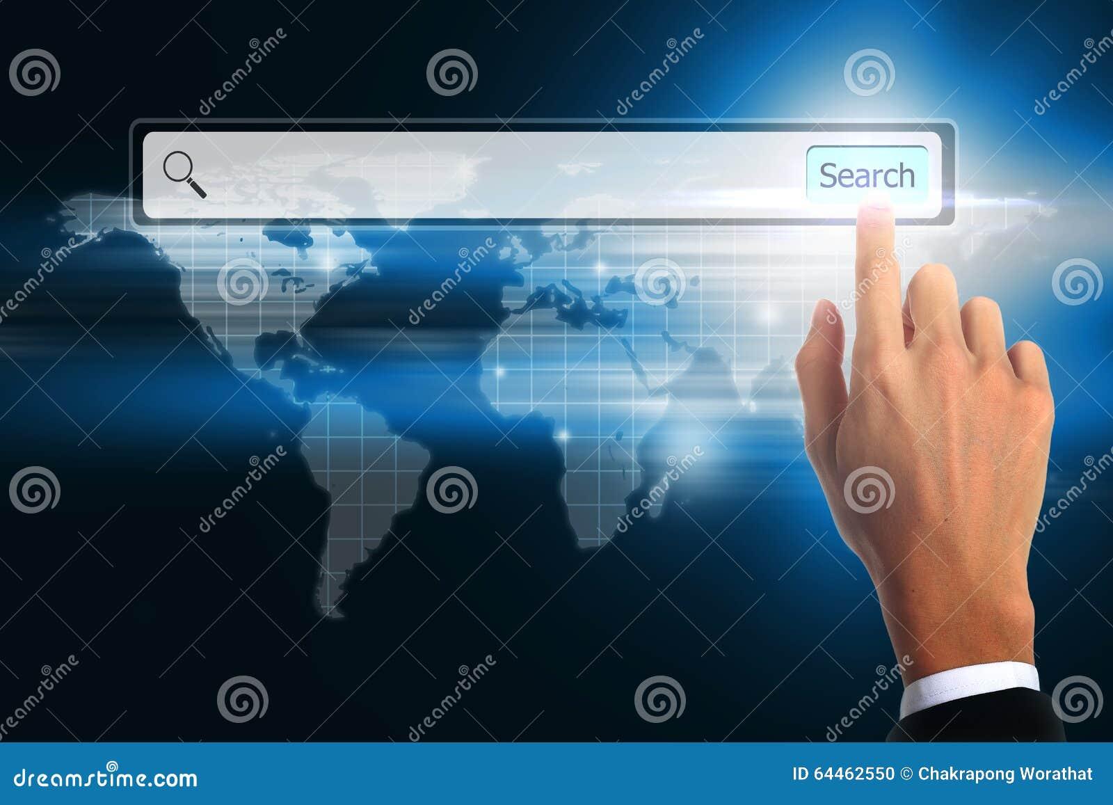 Búsqueda conmovedora de la barra del negocio de la mano World Wide Web