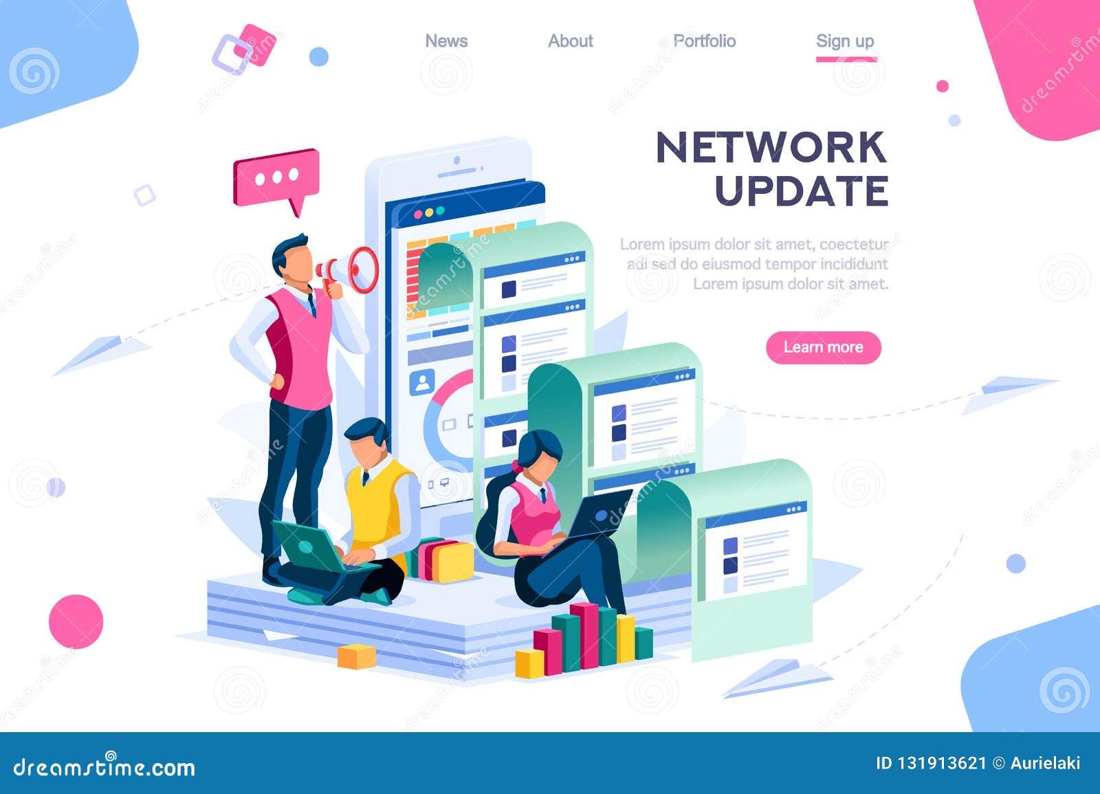 Búsqueda de la compañía para la actualización de la red de información