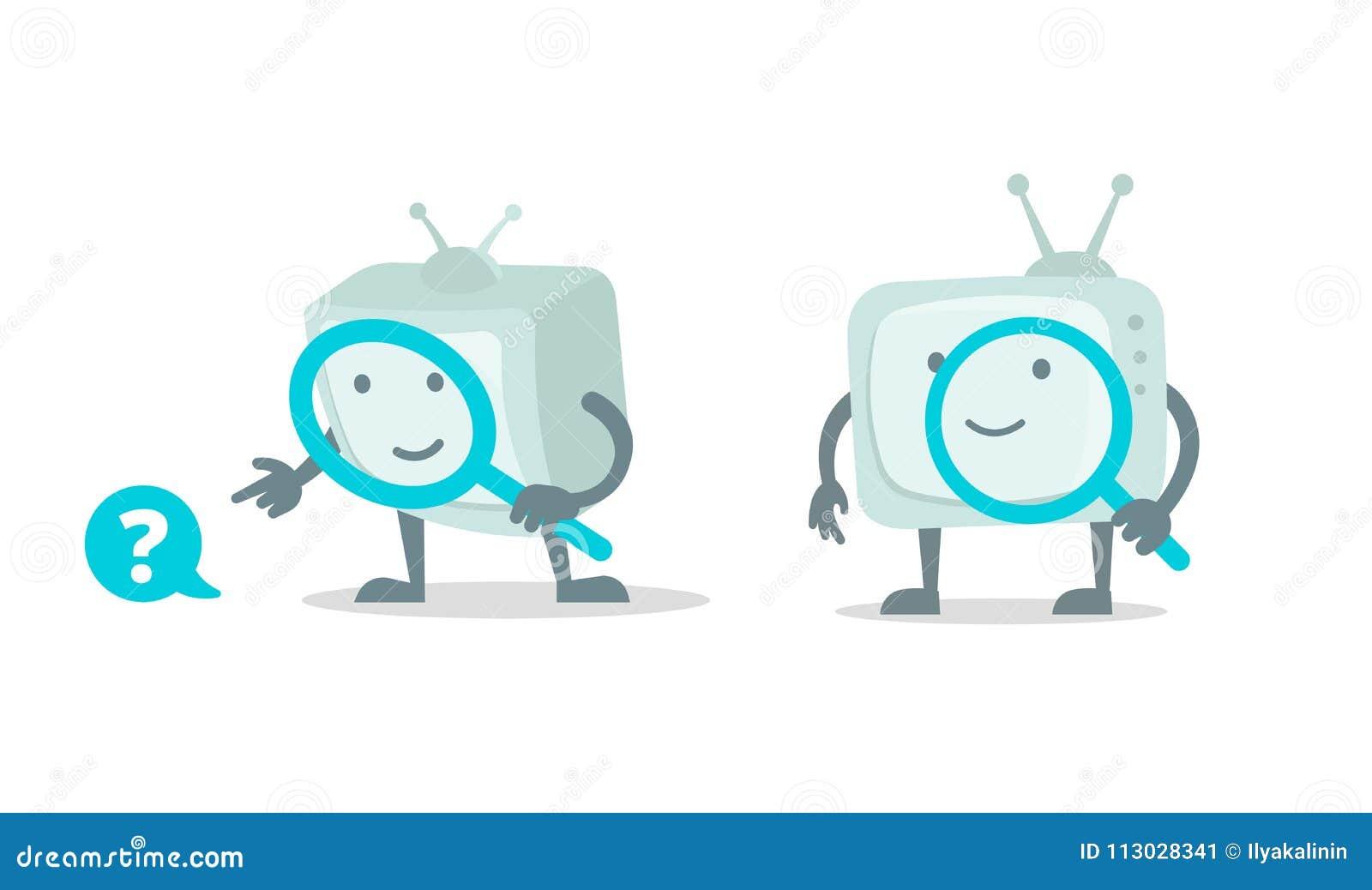 Búsqueda video, carácter del robot del cine TV con el sistema de la lupa de la lupa Con búsqueda de la lupa Vector plano del colo