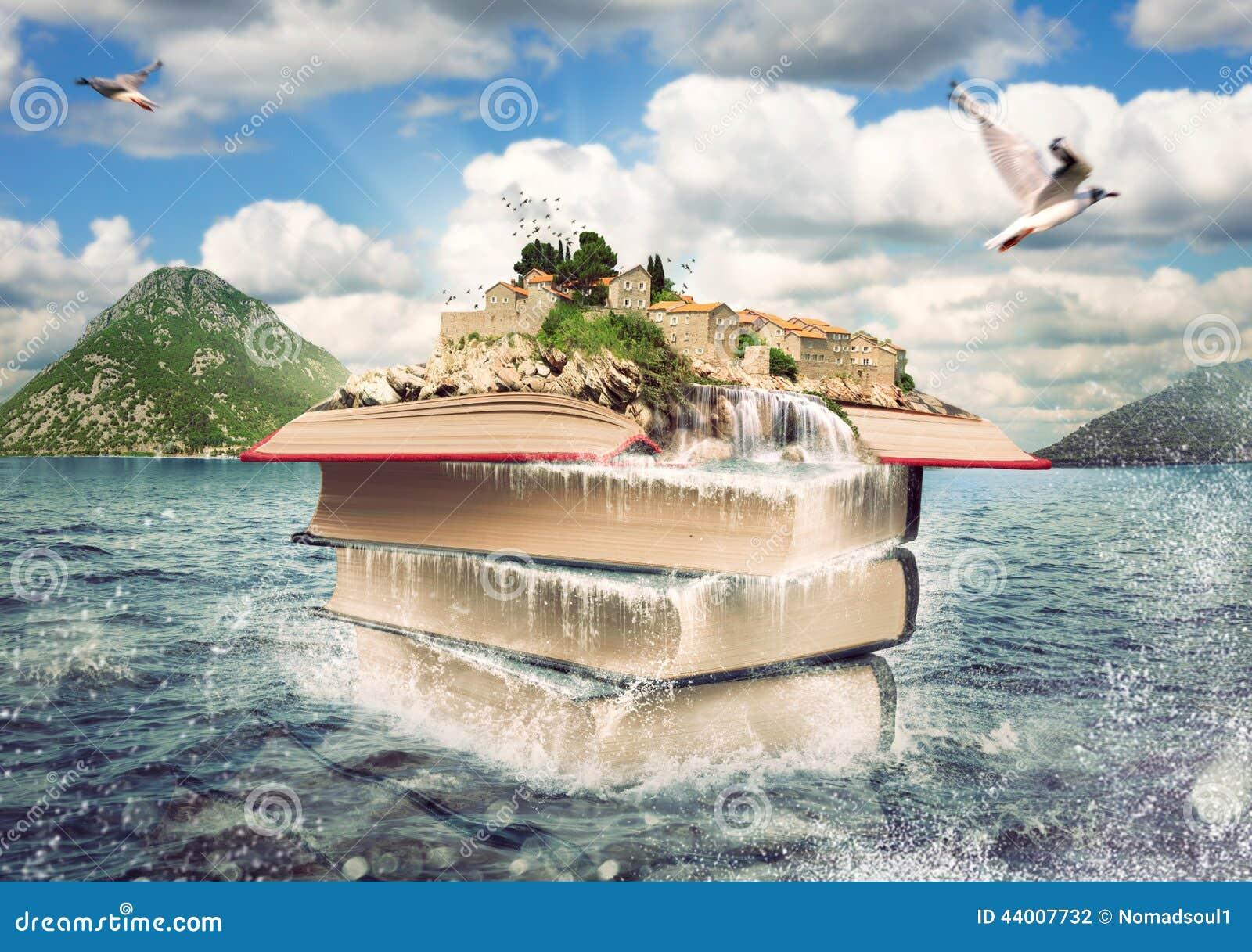 Bücher mit einer netten Insel auf die Oberseite