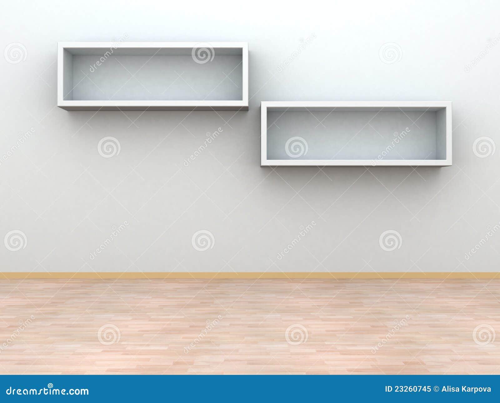 Bücherregale Auf Der Wand Moderner Innenraum Stock Abbildung